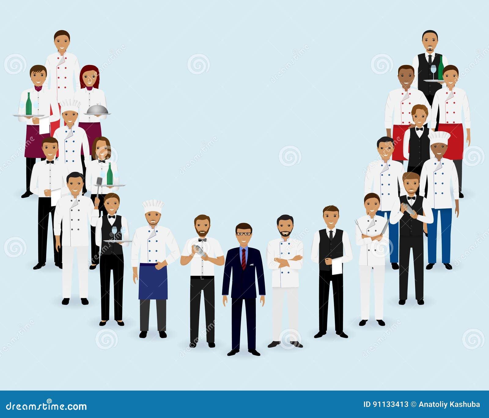 Restaurant Kitchen Manager Job Description: Restaurant Team. Group Of Manager Chef Waiters Bartenders Standing Together. Cartoon Vector