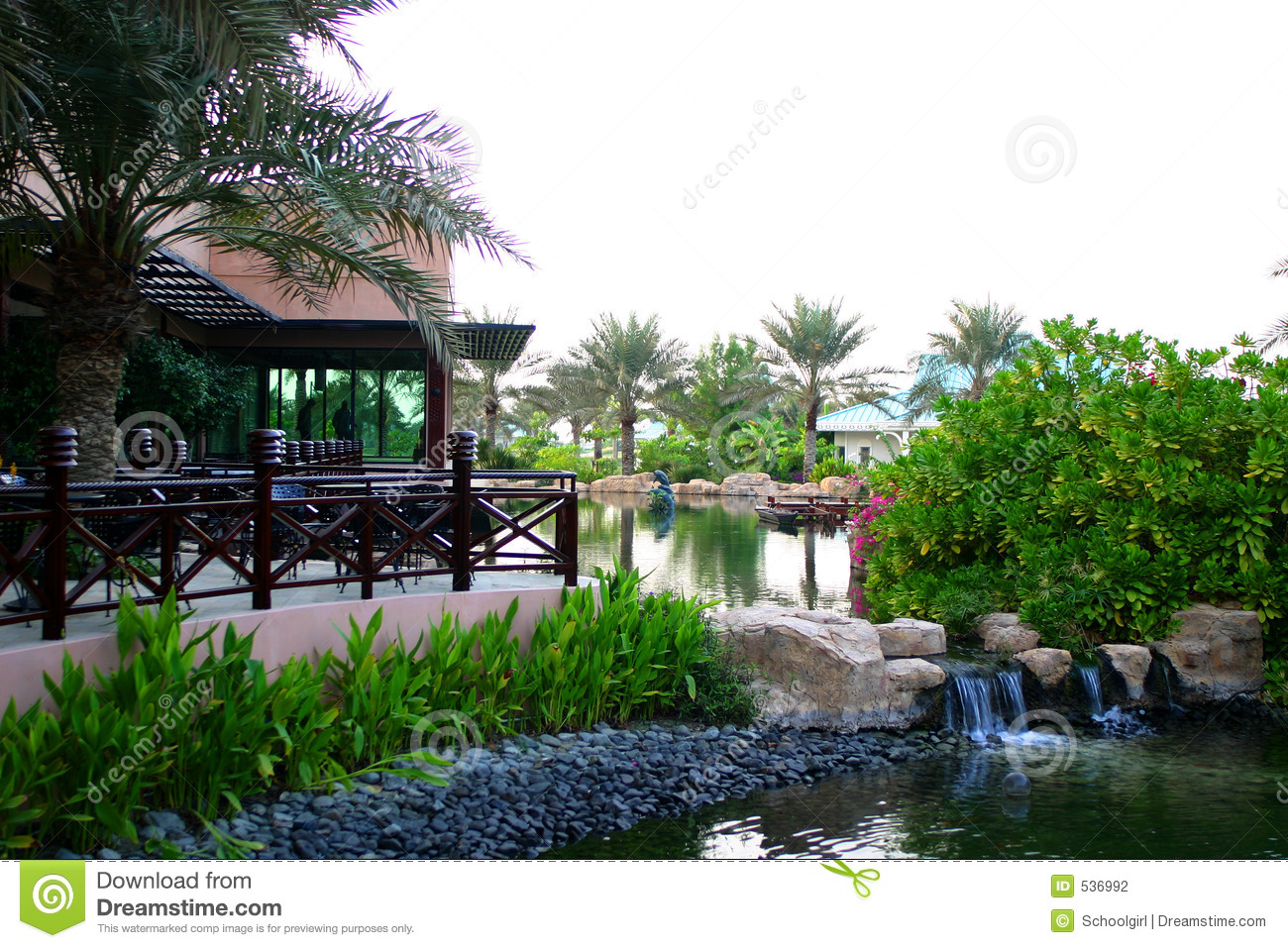 Restaurant with terrace and pond stock photography image for Restaurant with terrace
