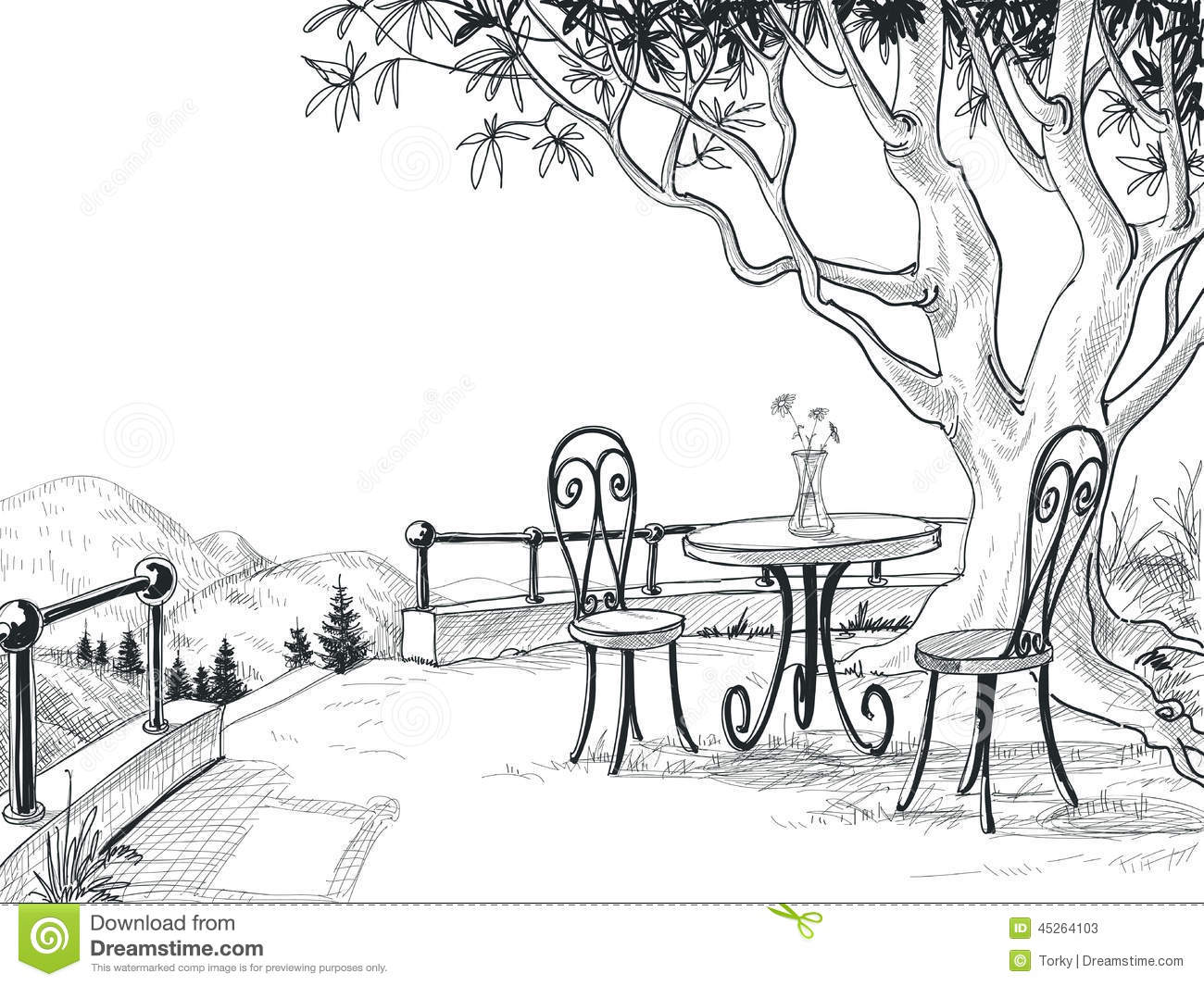 Restaurant Terrace Sketch Stock Vector. Illustration Of