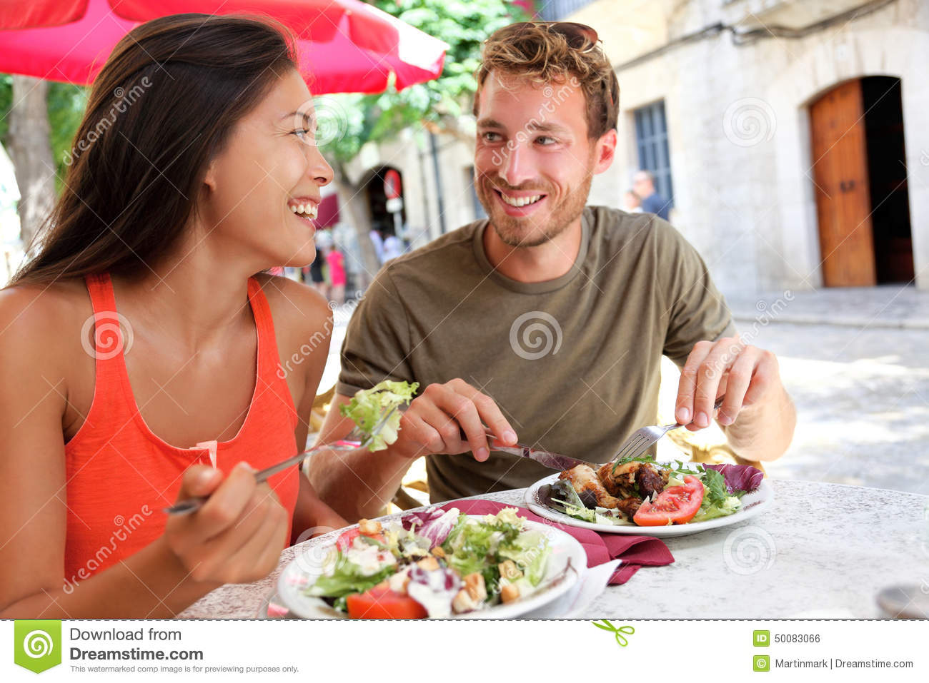 Restaurant Tourists Couple Eating At Outdoor Cafe Stock ...