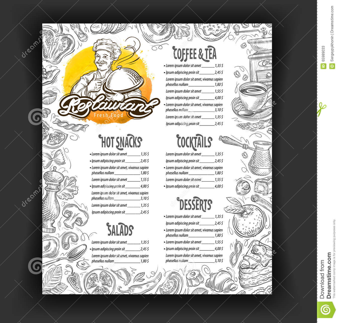 Cafe menu food and drinks hand drawn icons cartoon vector