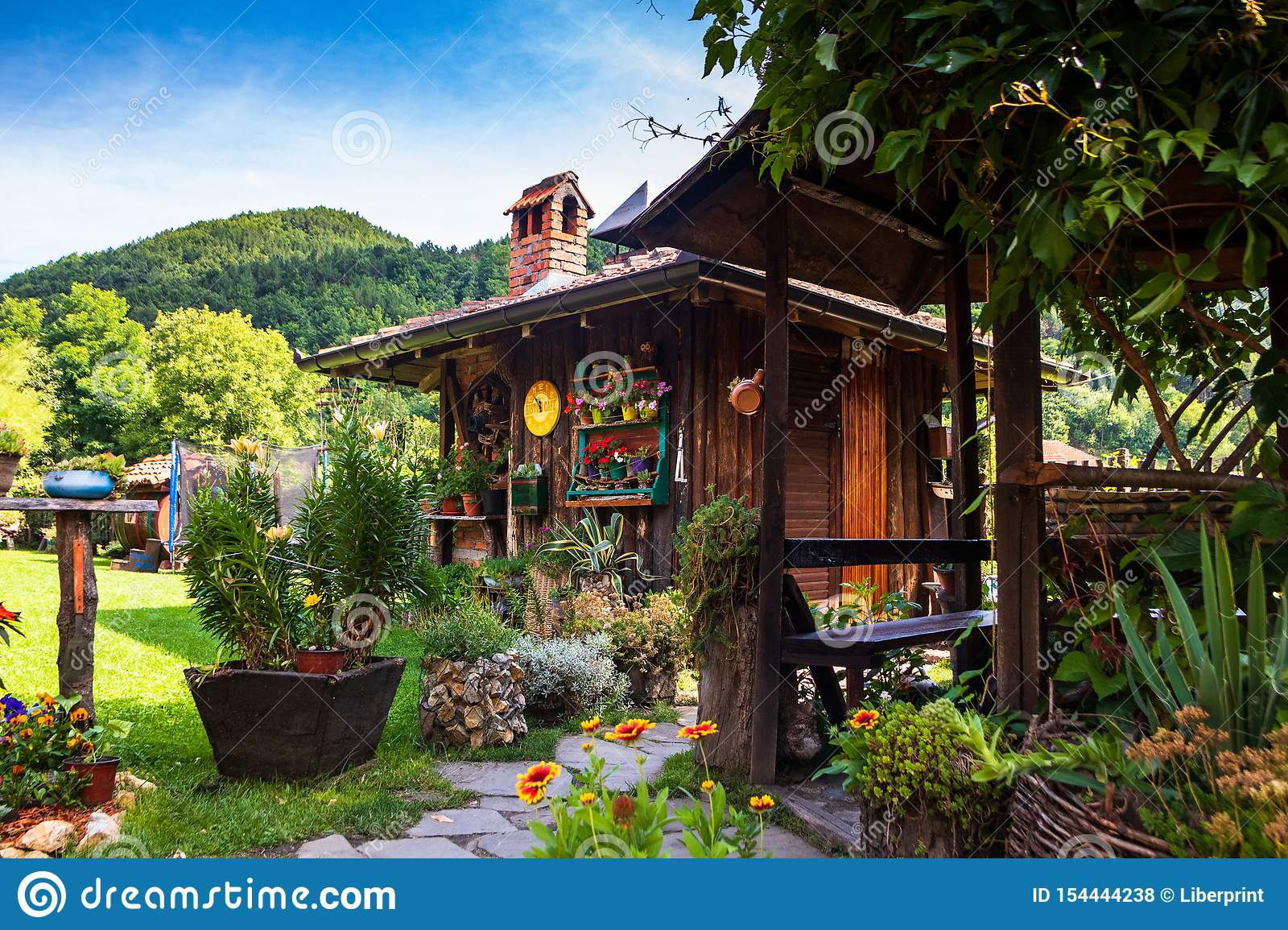 Restaurant In A Vintage Yard With Wooden House Beautiful Garden