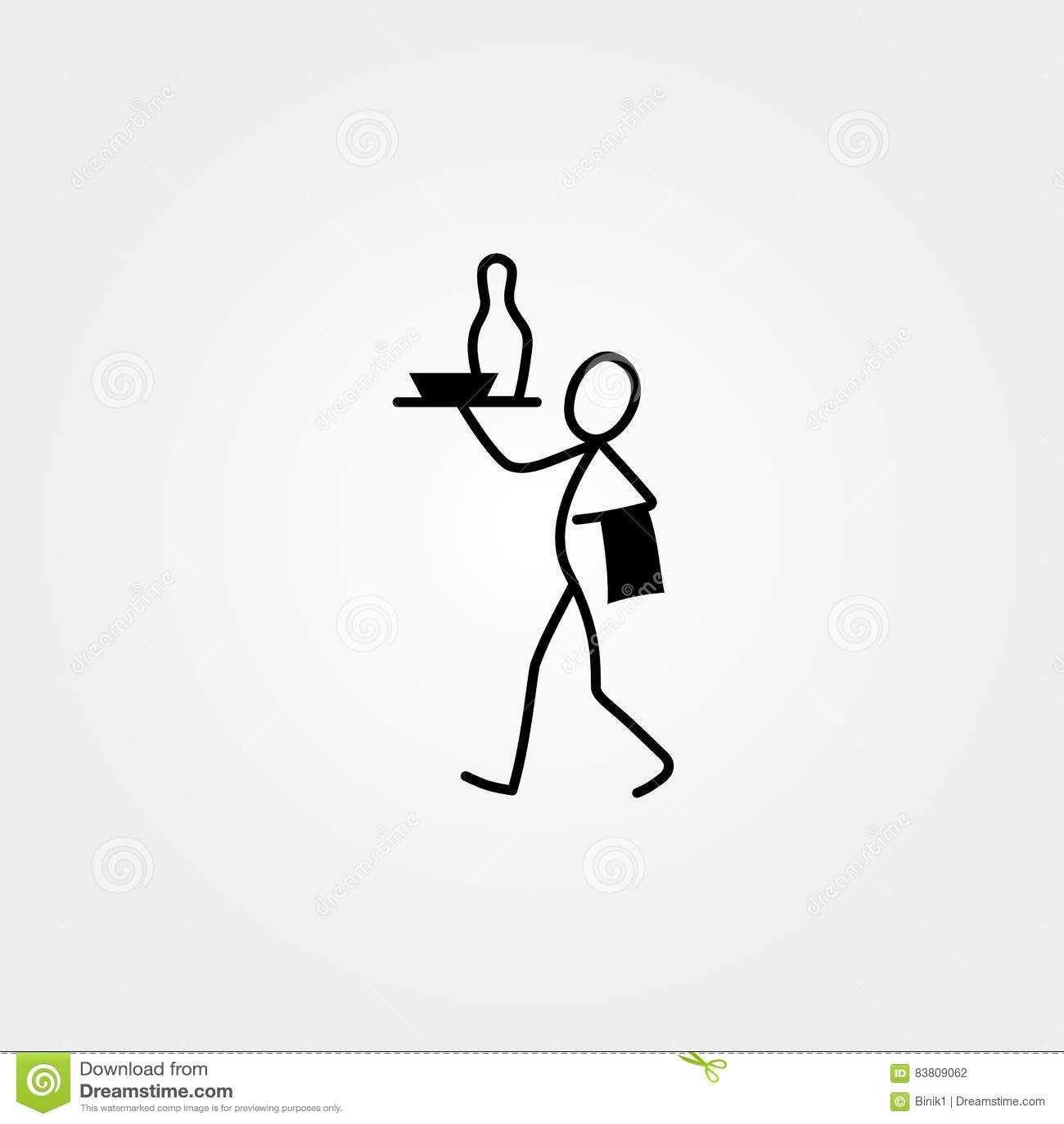 Restaurant Waiter Cook Stick Figure Vector Illustration