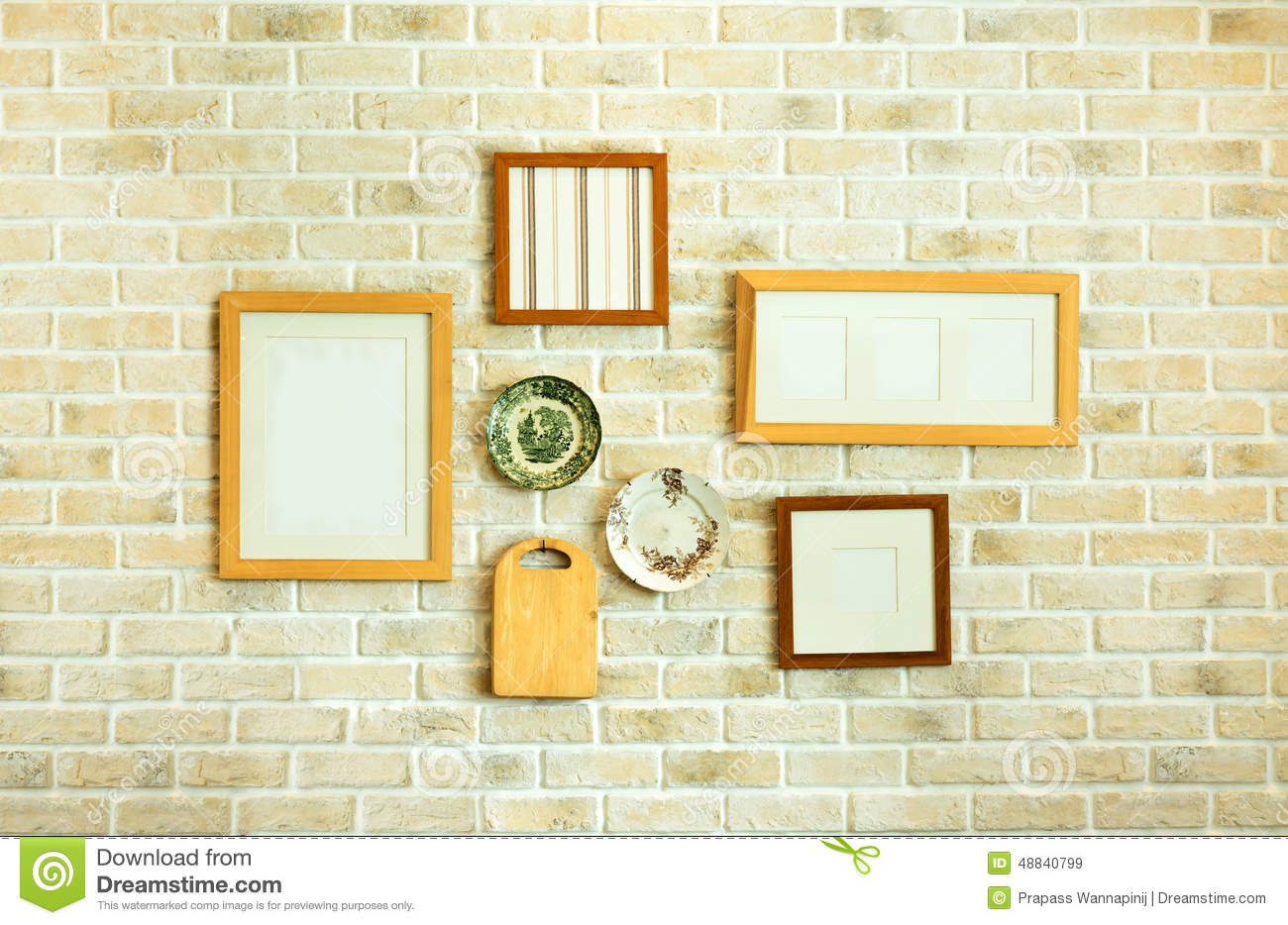 restaurant white brick wall decoration stock photo - image: 48840799