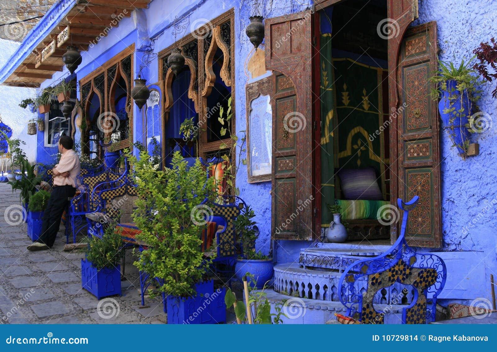Restaurante étnico en Chefchaouen, Marruecos