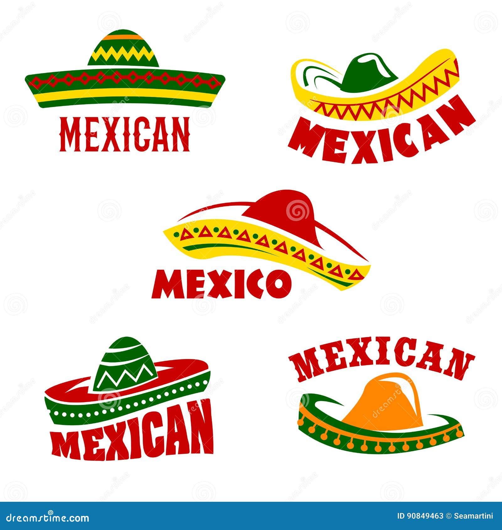 5b0b804946f68 Iconos mexicanos del vector del restaurante fijados Los símbolos aislados  de los sombreros tradicionales del sombrero de México para el pub del café  de la ...