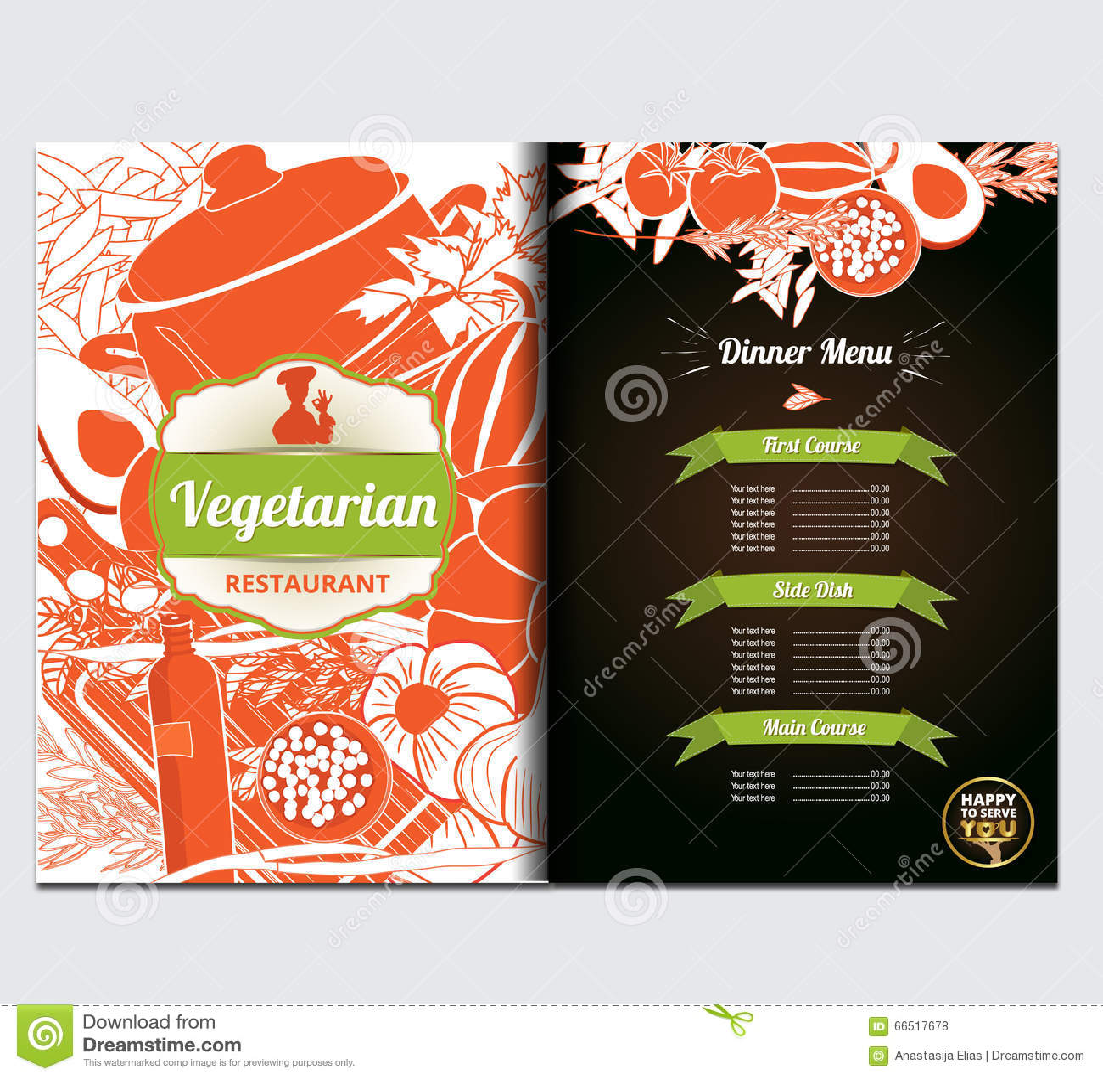 Restaurante Vegetariano, Menú Del Café Plantilla Del Diseño De La ...