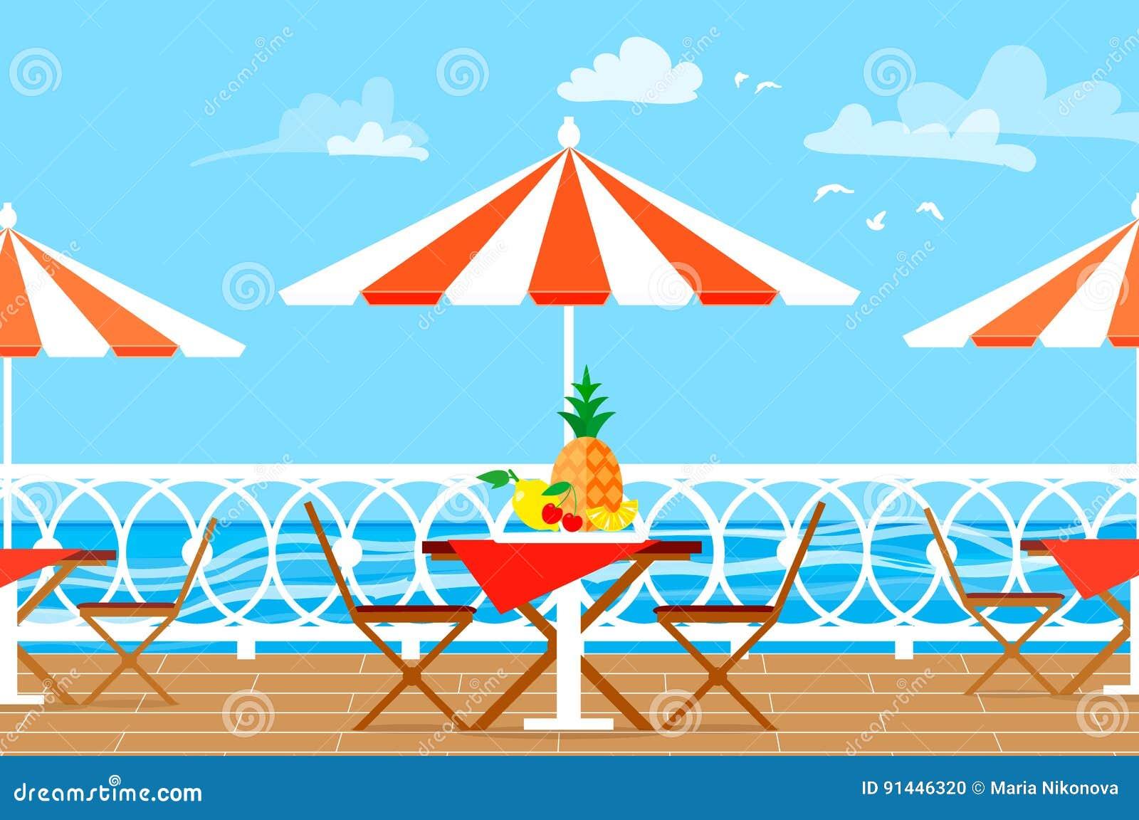 Restaurantpatio Picknick Stühle, Tabelle und Regenschirm auf Terrassenbalkon Eine Seebucht mit malerischen Bergen