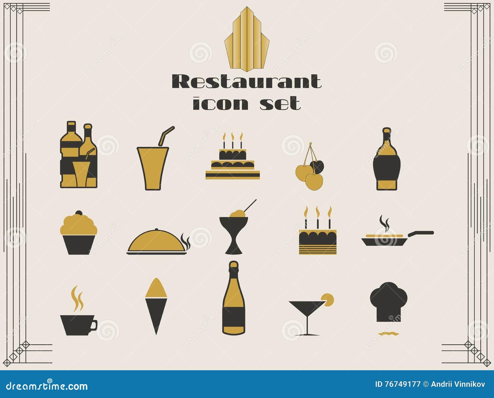 Restaurantpictogrammen in art decostijl het koken en