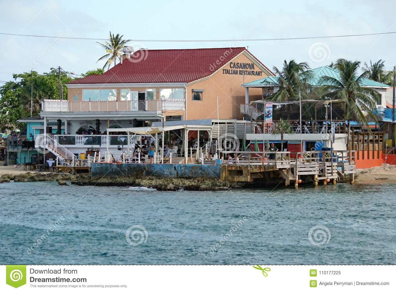 Restaurants Along The Waterfront On Grand Cayman Editorial
