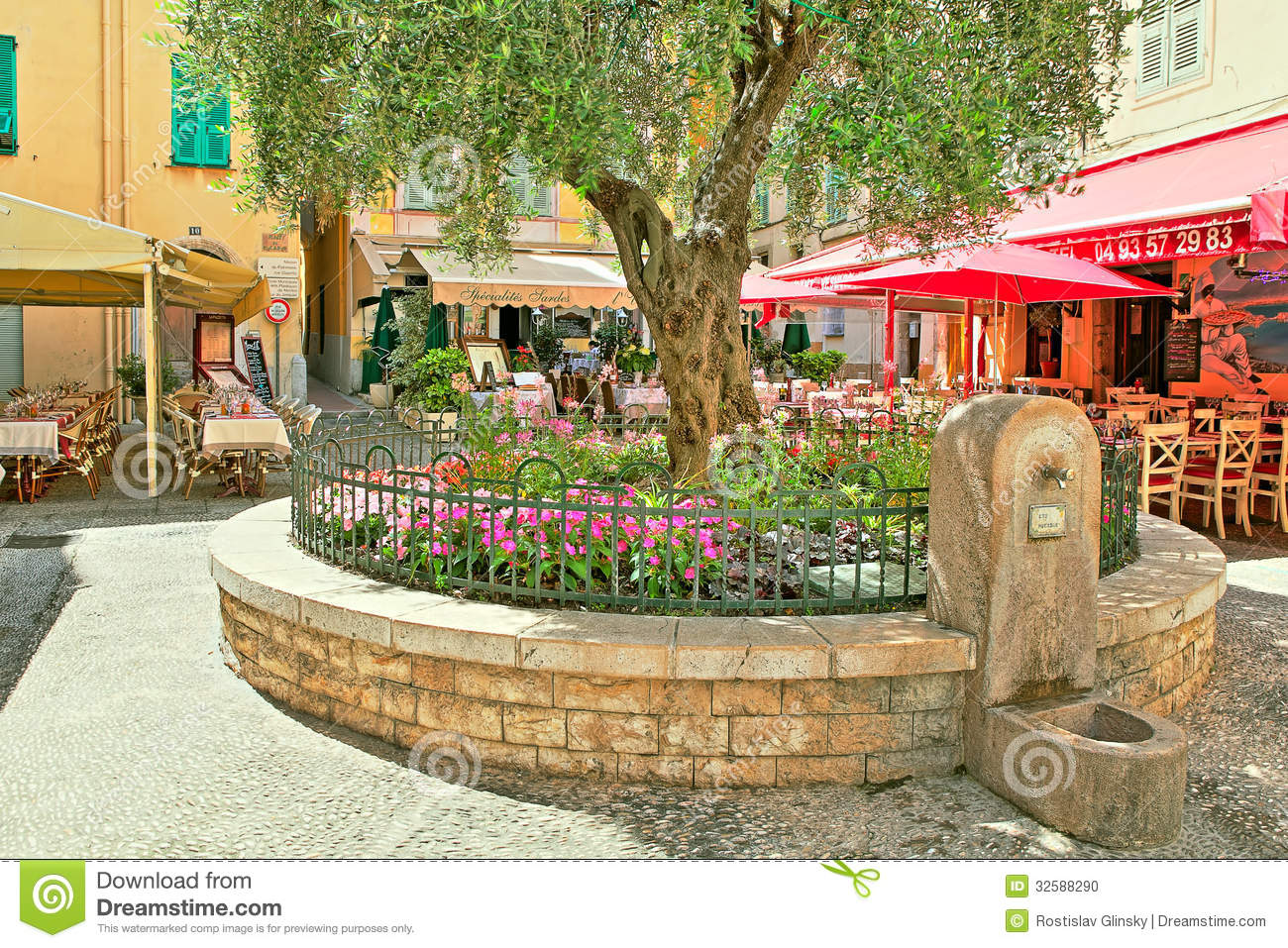 Restaurants And Bars In Menton France Editorial Image  : restaurants bars menton france june small square tree flowers full coffee shops town cote d azur aka french 32588290 from dreamstime.com size 1300 x 957 jpeg 385kB