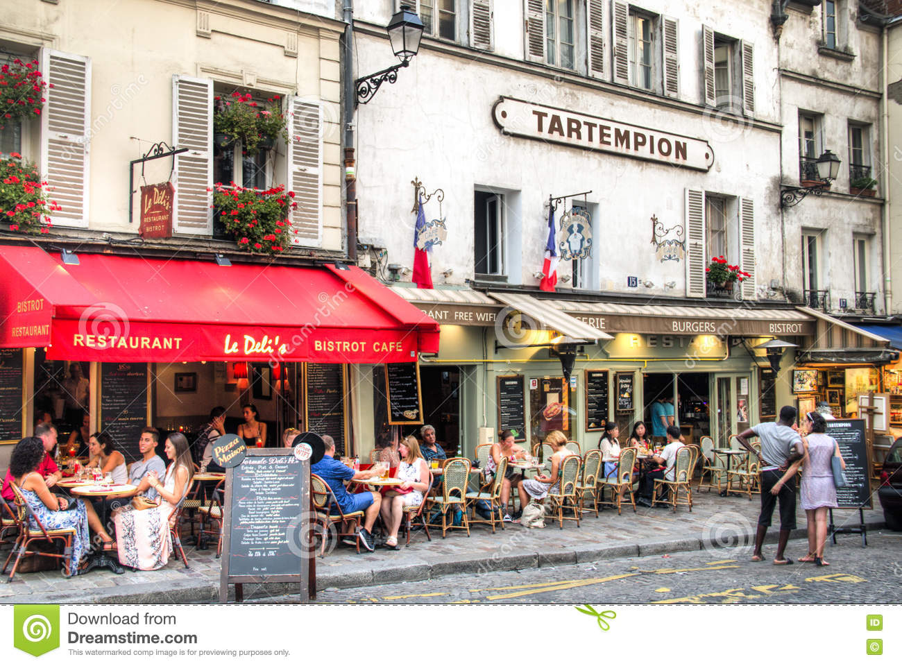 Restaurants At Montmartre In Paris Editorial Photography Image Of