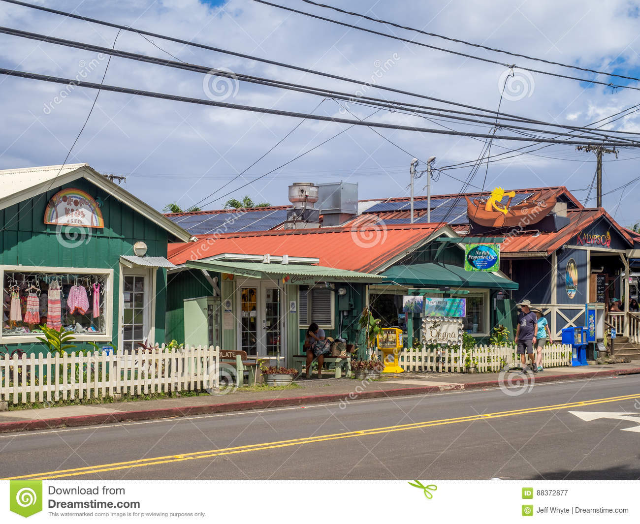 Restaurants And A Shopping Area In Hanalei Editorial