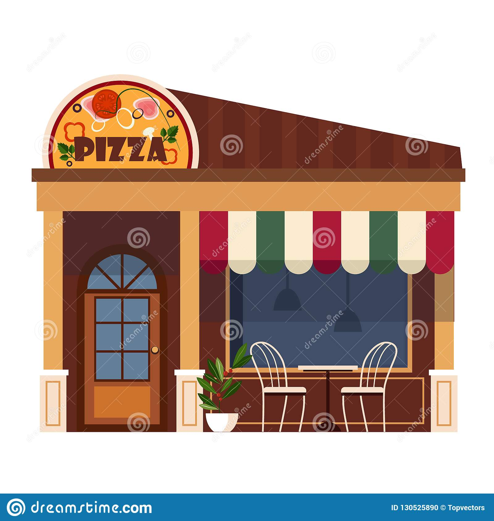 Restaurants And Shops Facade Storefront Vector Detailed Flat Stock Vector Illustration Of Front Construction 130525890