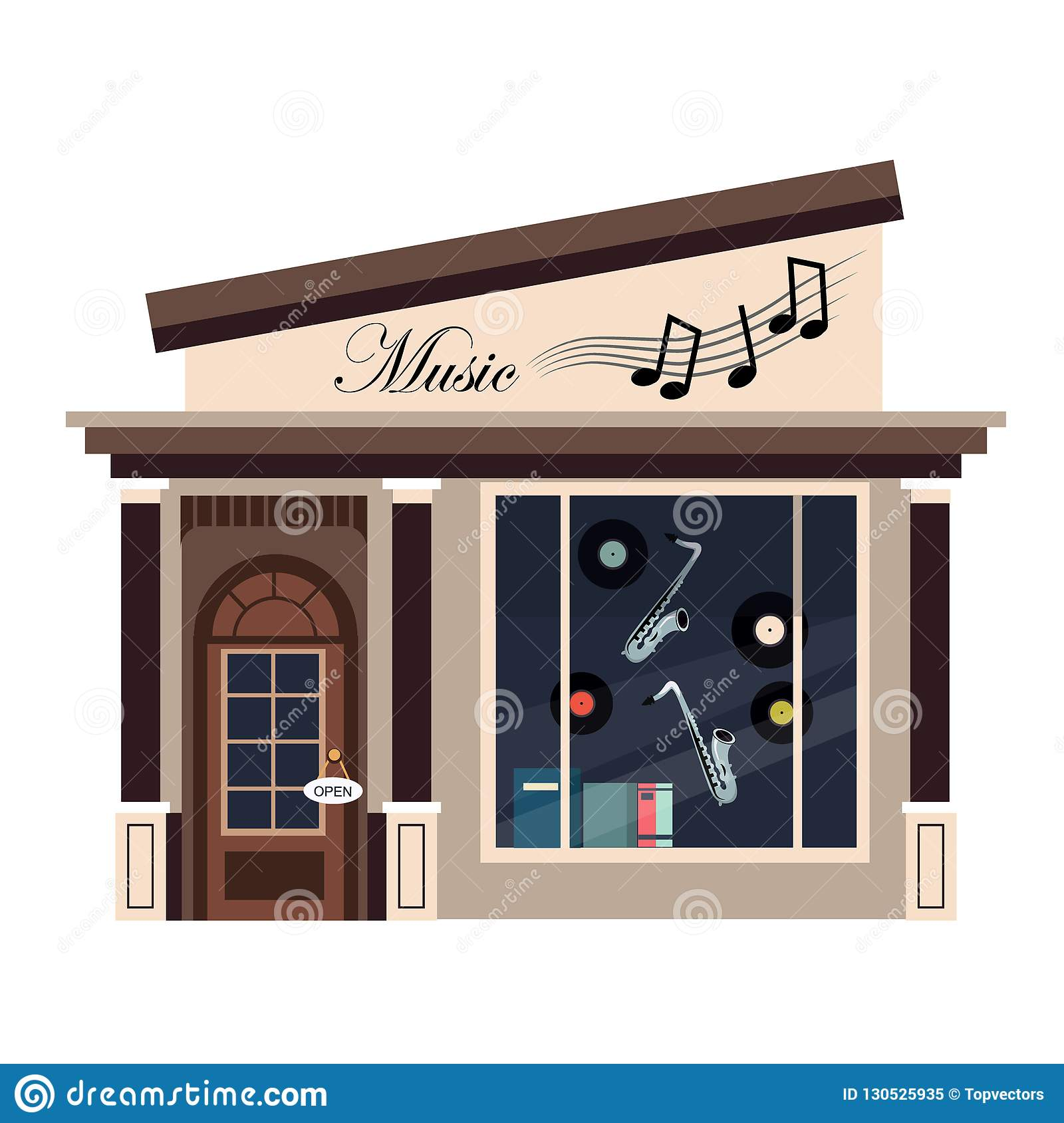Restaurants And Shops Facade Storefront Vector Detailed Flat Stock Vector Illustration Of Front Estate 130525935