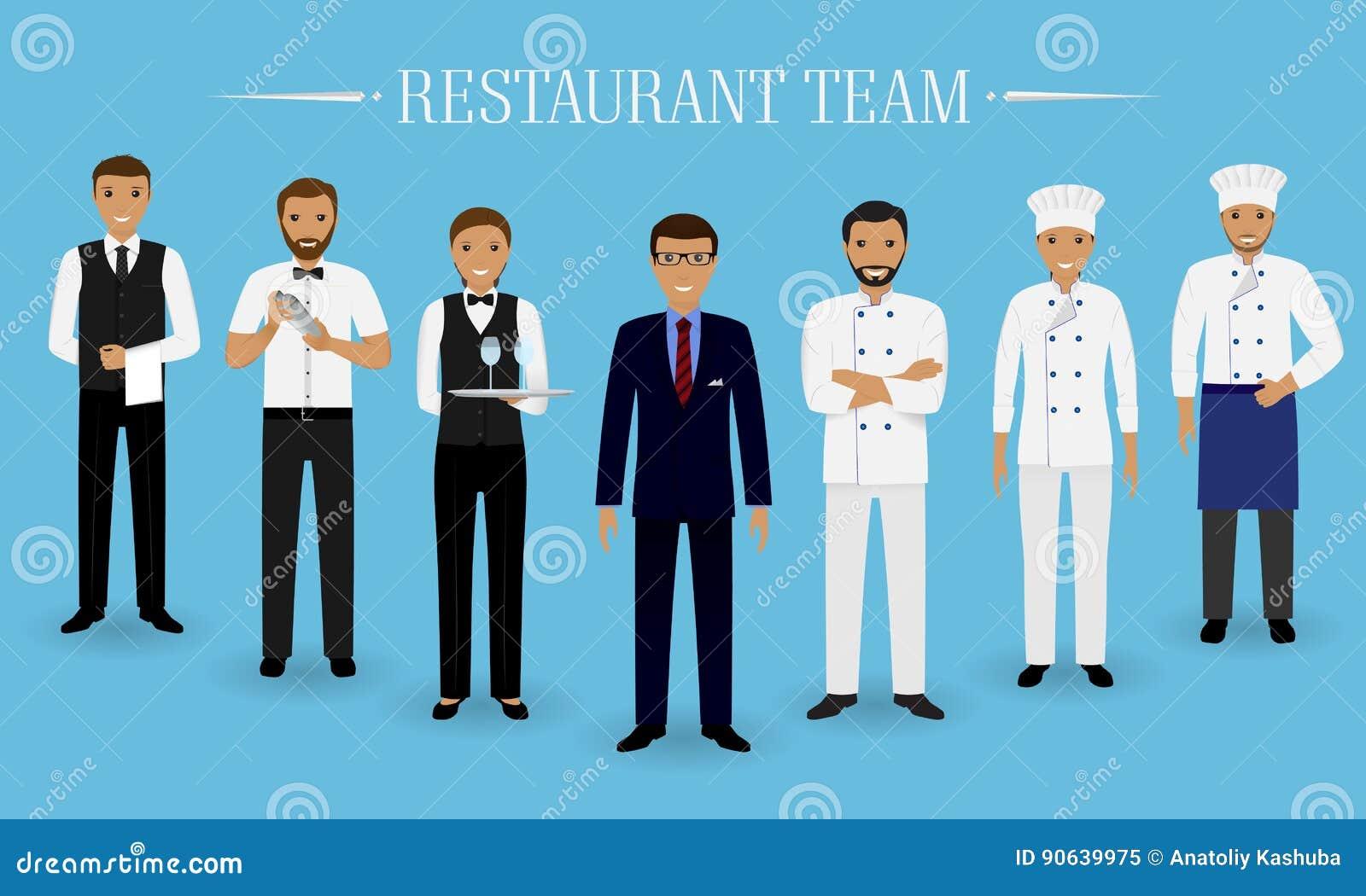 Restaurantteamkonzept Gruppe Charaktere, die zusammen stehen: Manager, Chef, Koch, zwei Kellner und Kellner in der Uniform