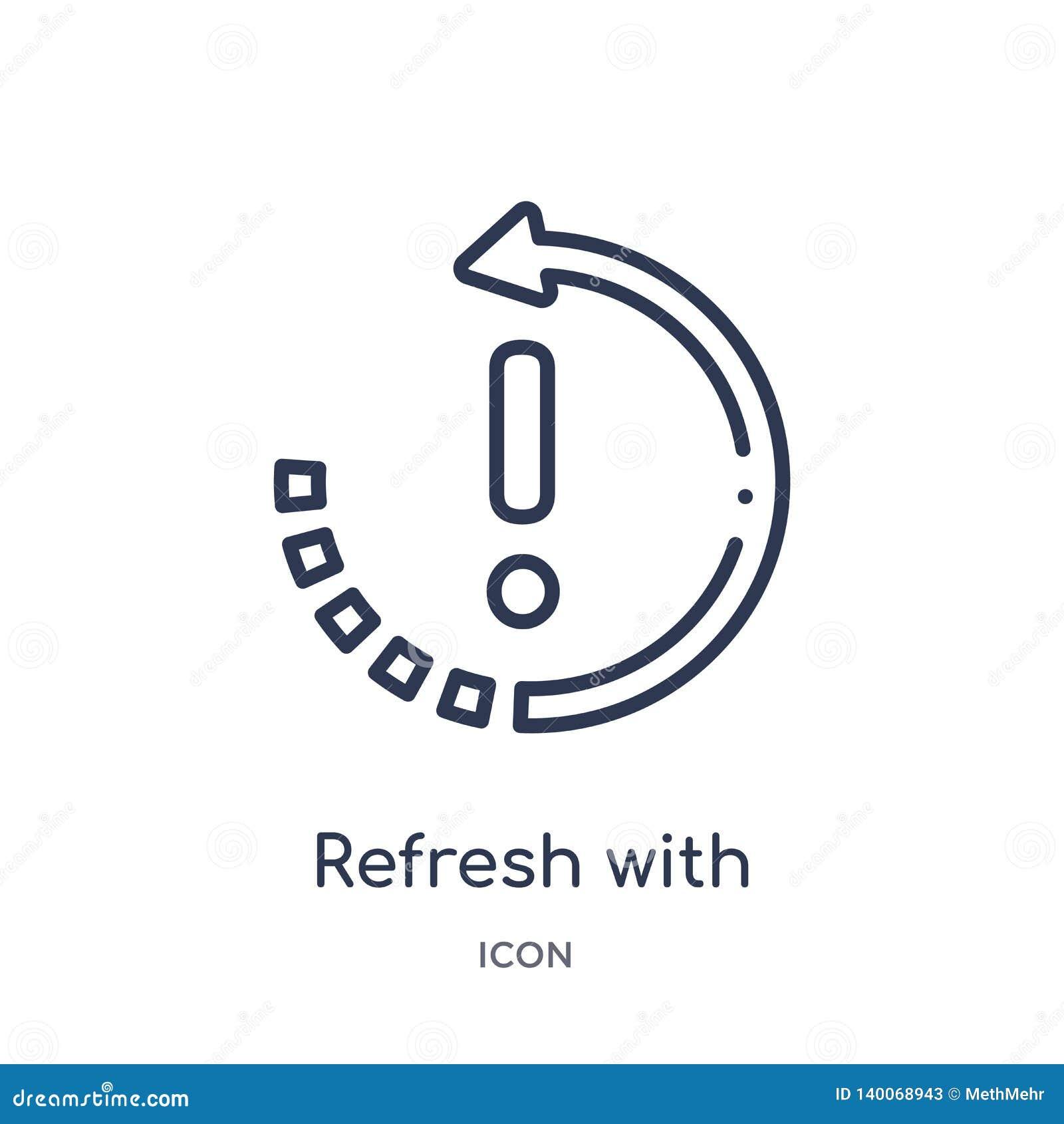 Restaure con el icono de la exclamación de la última colección del esquema de los glyphicons La línea fina restaura con el icono