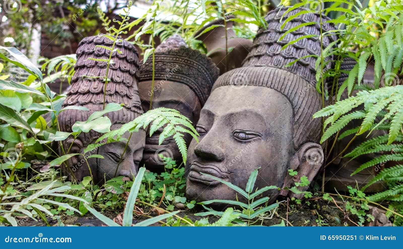 Resting Clay Sculpture Buddha Heads