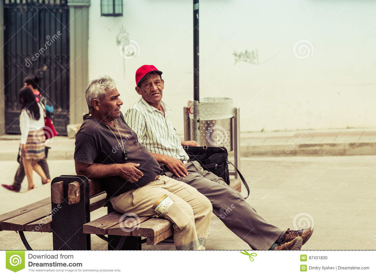Resting people in white city popayan colombia south america