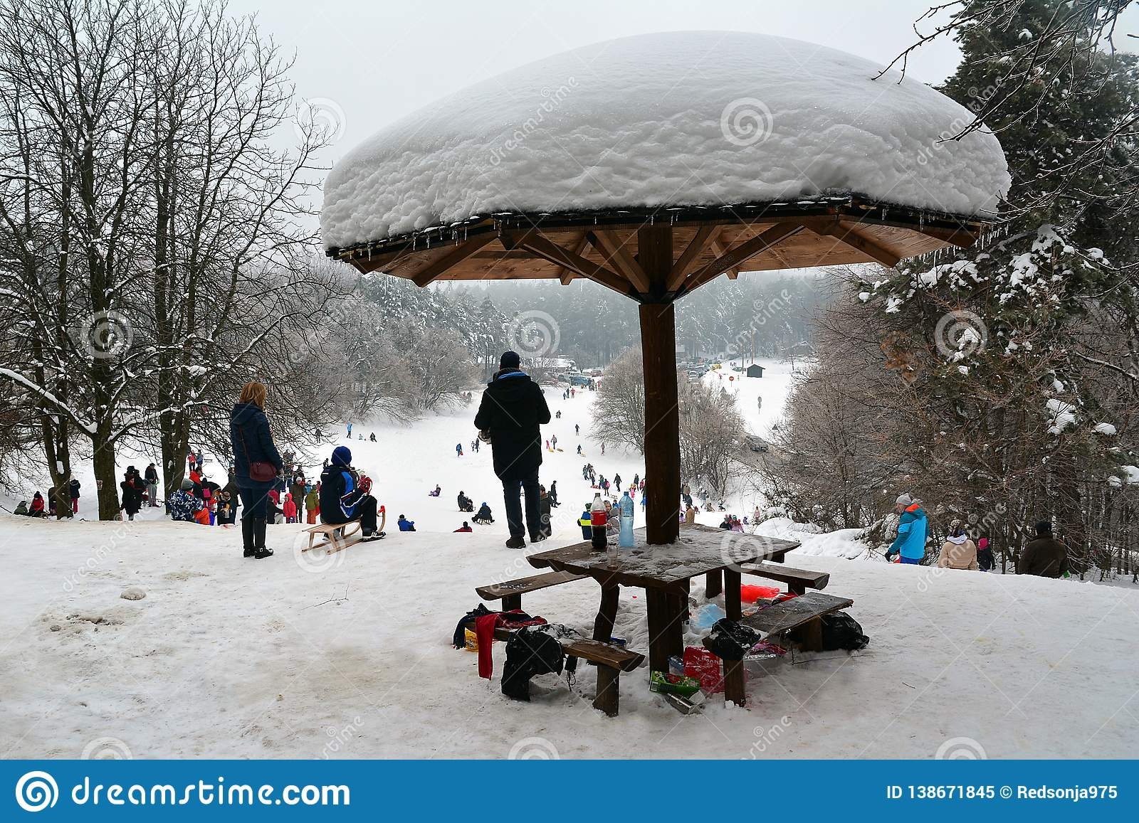 Resting place for people as snow mushroom