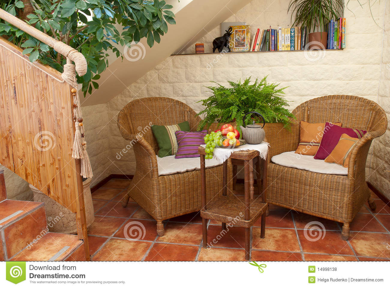 Artistic garden furniture on patio royalty free stock - Sofas de mimbre ...