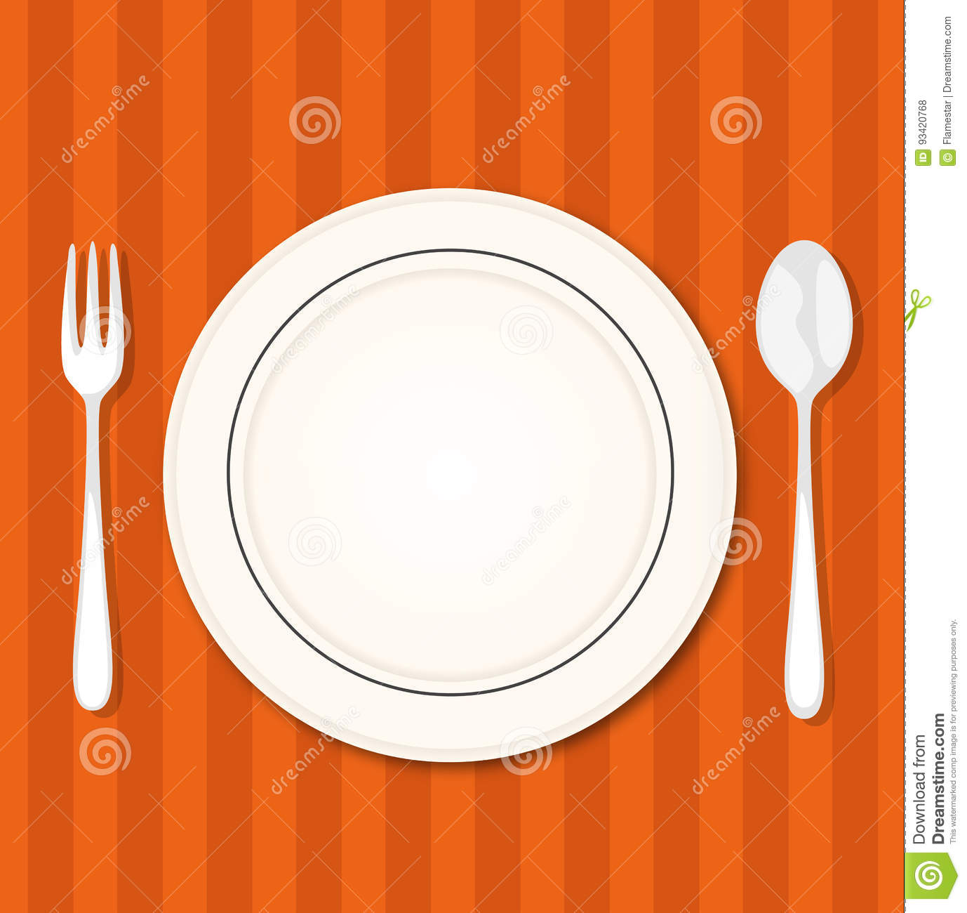 Vector Illustration Plate And Fork And Knife Cartoon