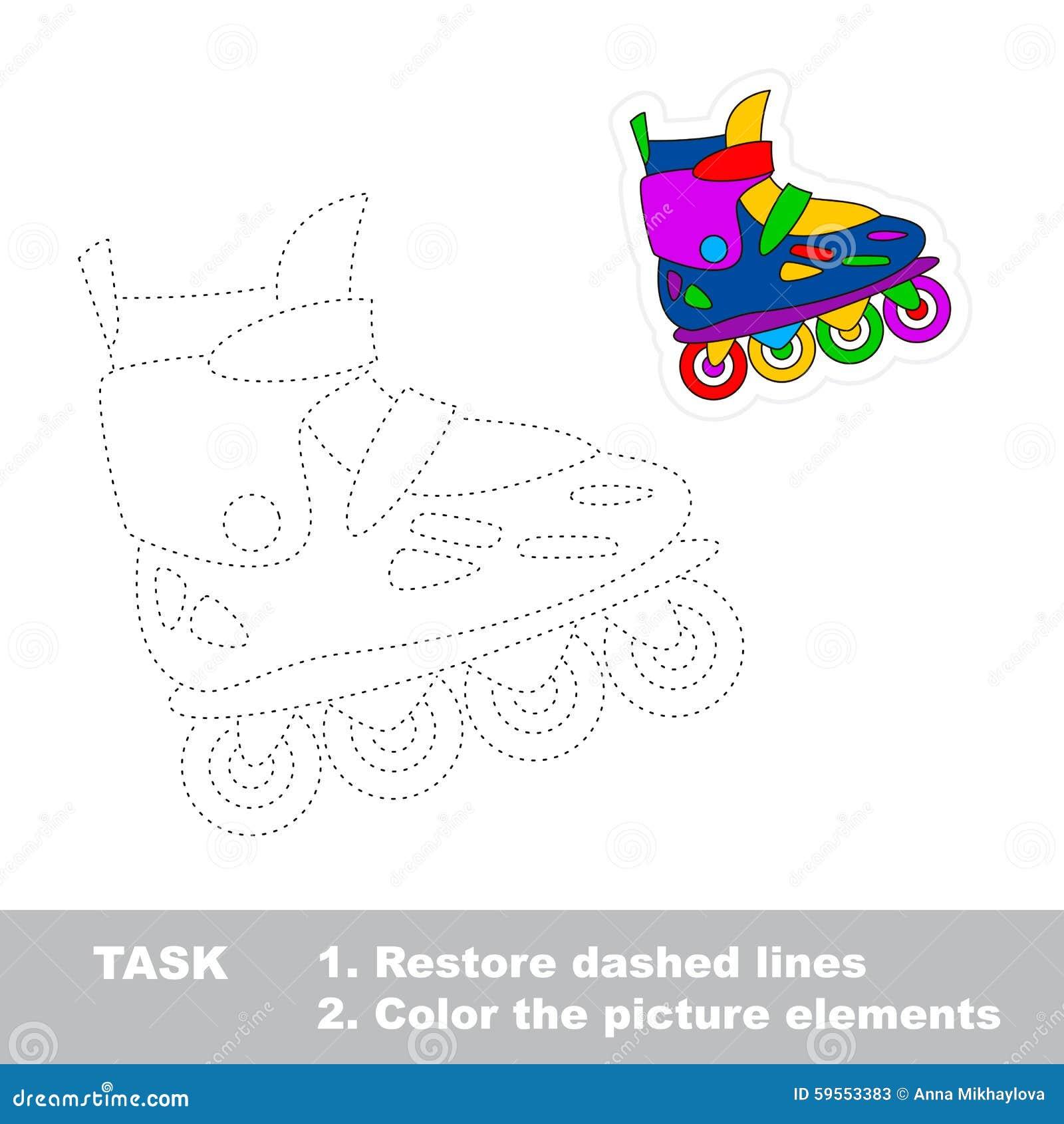 Roller skates one line - Restore Dashed Line One Cartoon Roller Skate