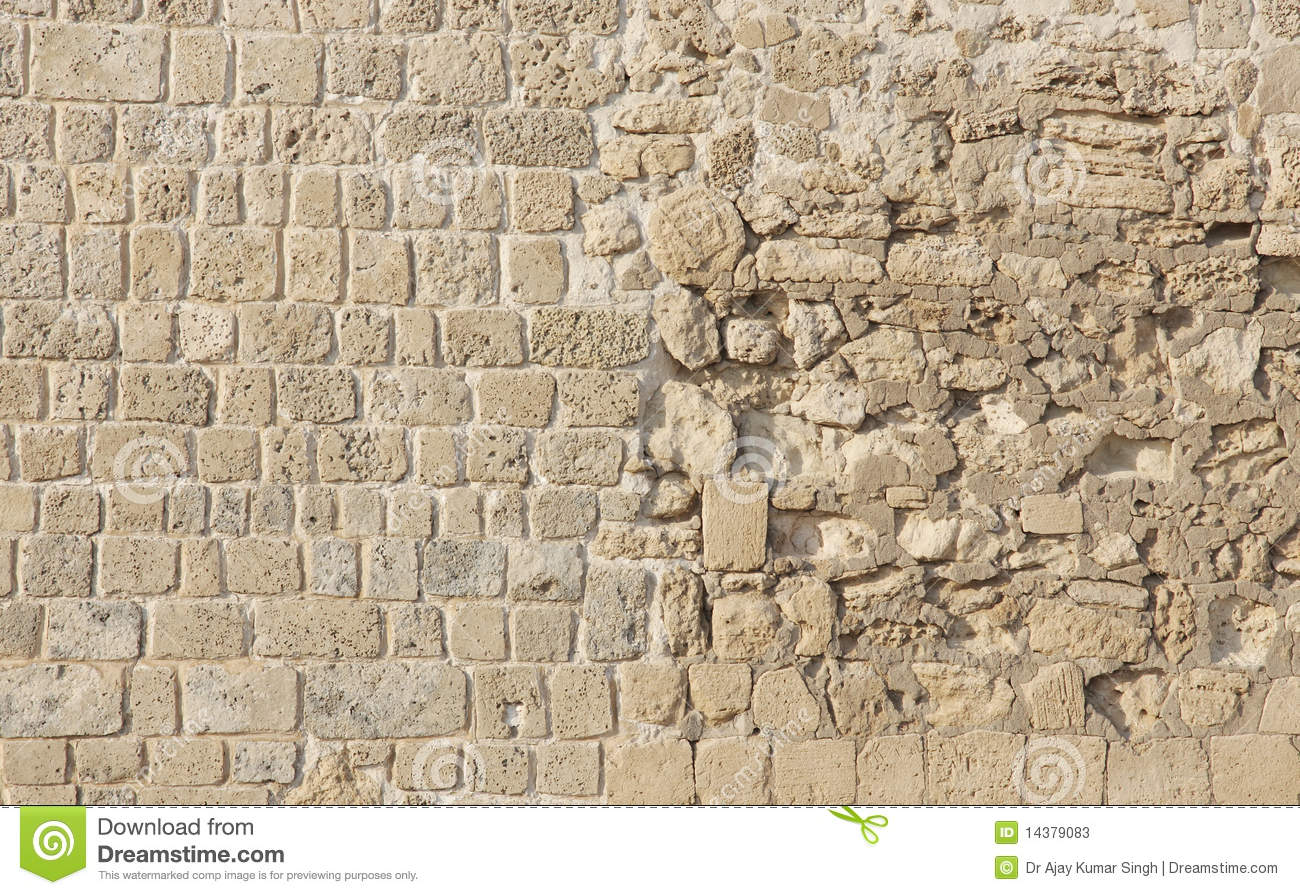 Restored Bahrain Fort Wall With Different Textures Stock Photos ...