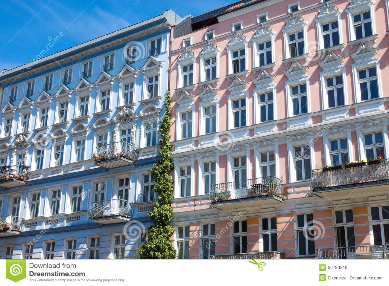 restored houses in berlin prenzlauer berg stock photo image of redeveloped decay 30784216. Black Bedroom Furniture Sets. Home Design Ideas