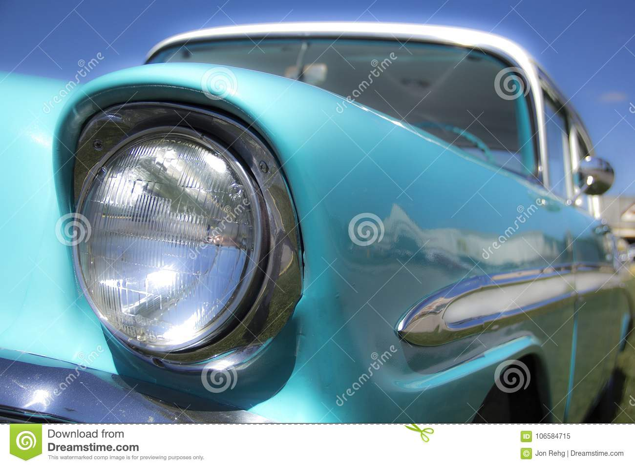 Restored 1950s Classic Muscle Car Hot Rod Front End Headlight Stock