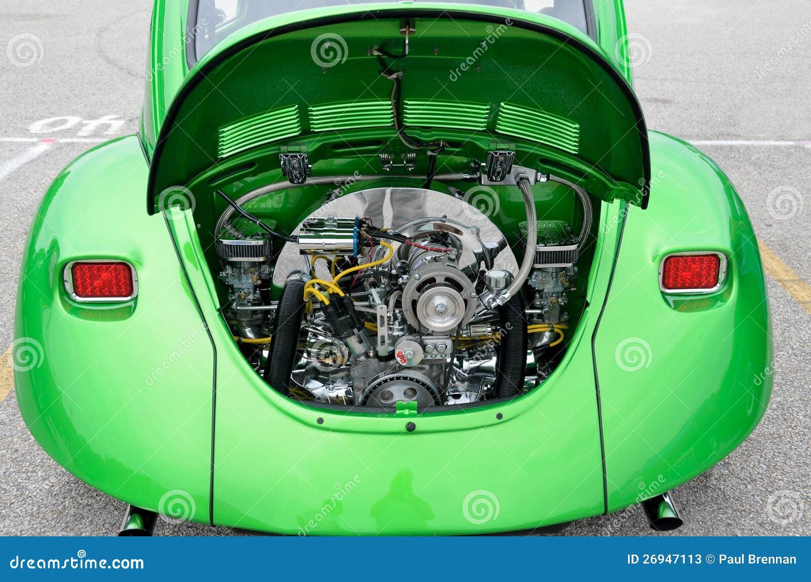 restored volkswagen beetle engine editorial stock photo