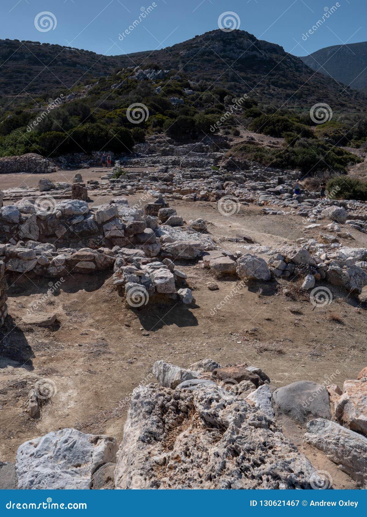 Restos antiguos de la ciudad-estado de Dorian en Lato, NE Creta