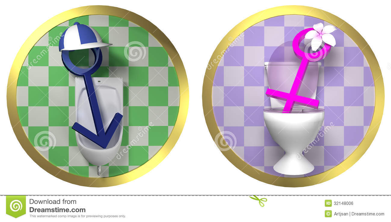 Bathroom Signs Male Female restroom - female and male toilet sign on tiled wall with golden