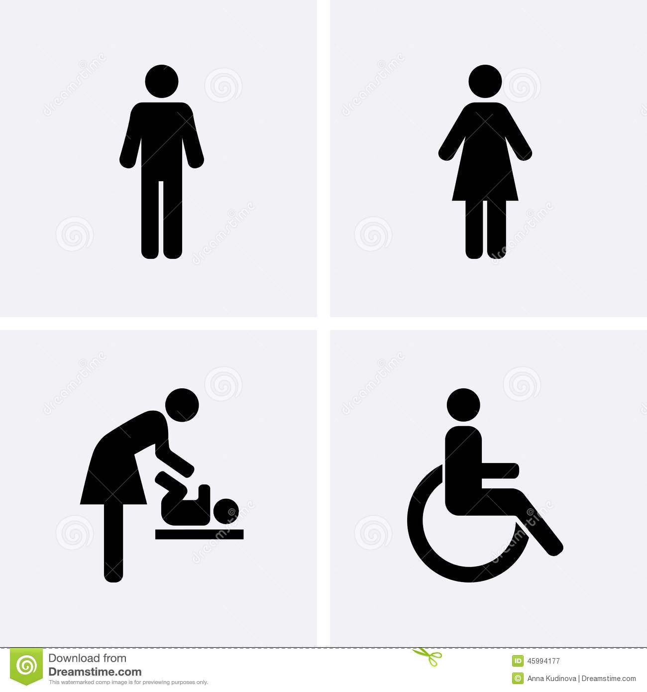 Restroom Icons Stock Vector Image Of Nappy Disability