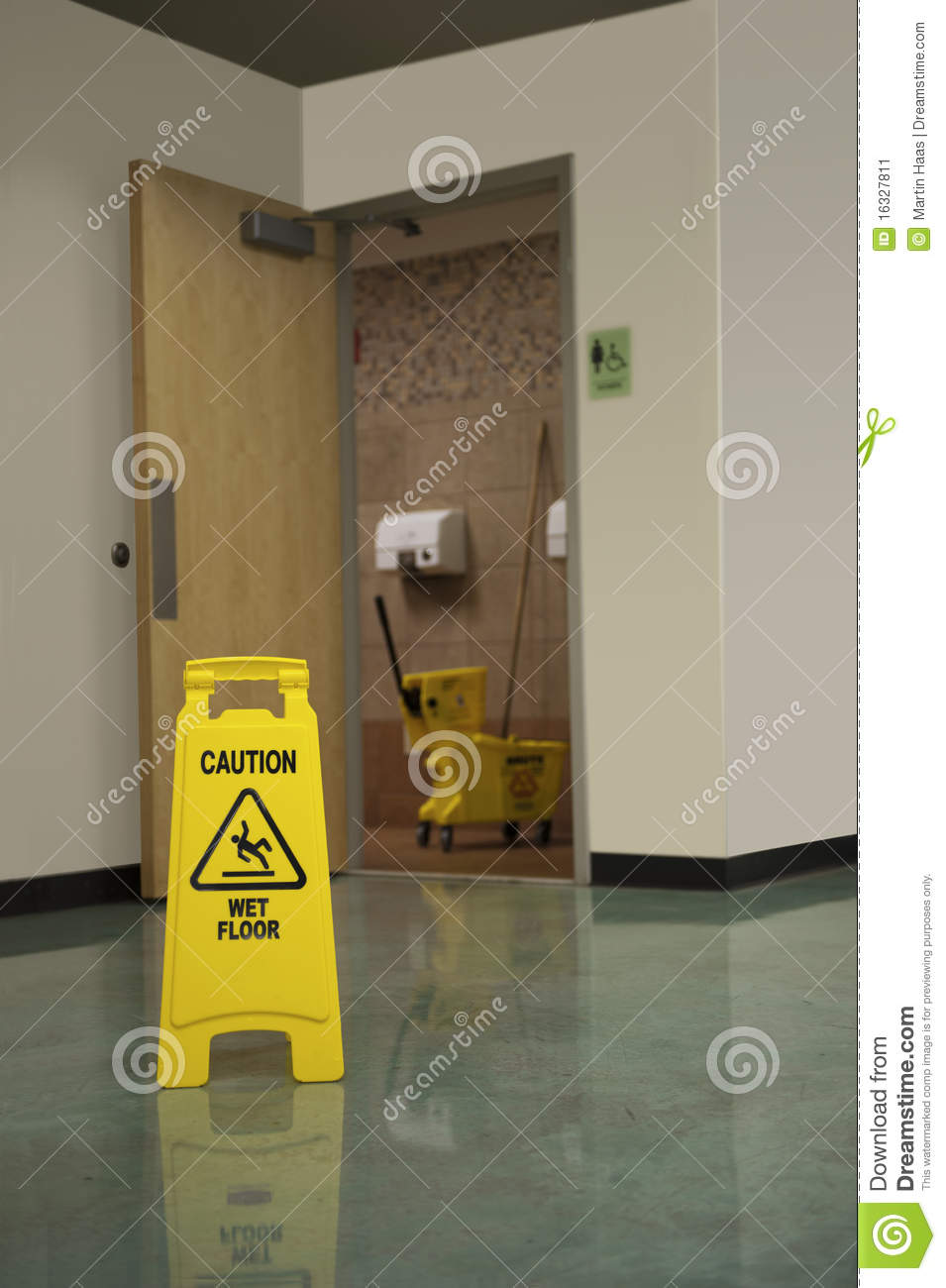 Restroom Mop Safety Stock Image Image 16327811