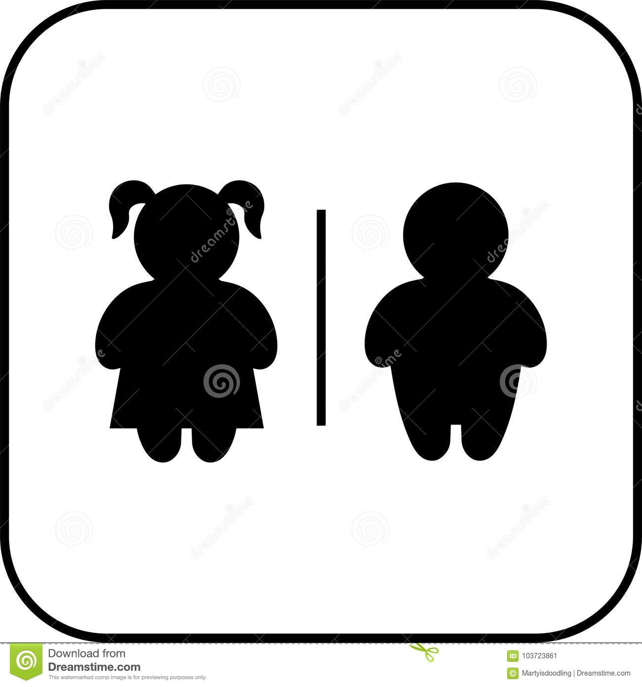 Restroom Sign Boy And Girl Stock Vector Illustration Of Black