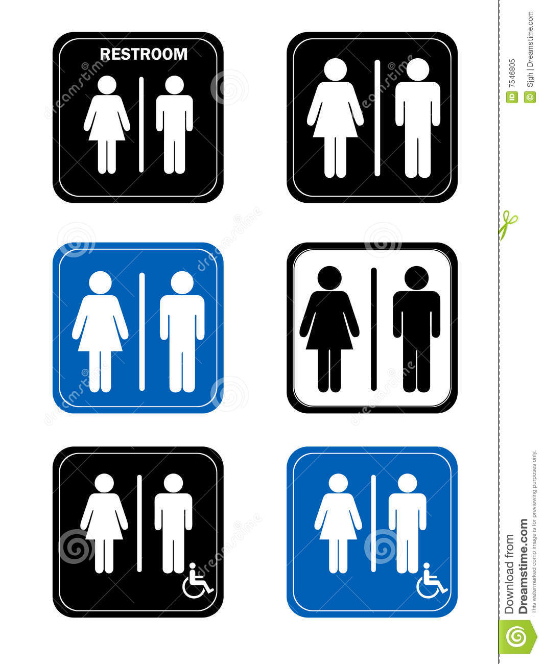 Restroom signs with men and women handicap washro stock illustration image 7546805 Men women bathroom signs