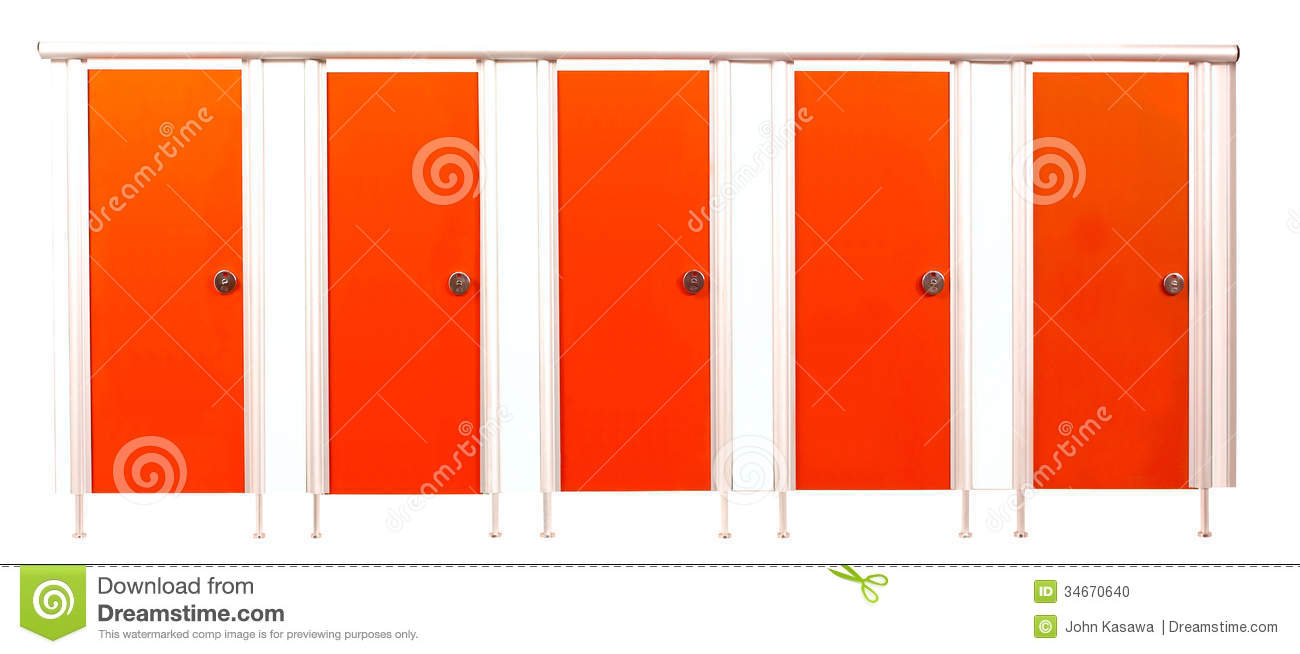 Restroom Stall Doors Isolated On White Background Stock Photo