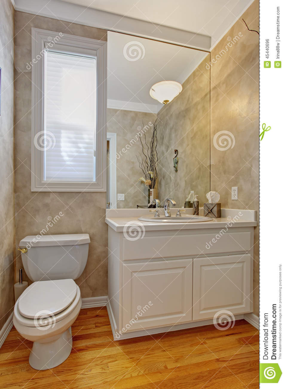 Restroom With White Vanity Cabinet Stock Photo - Image: 45440696