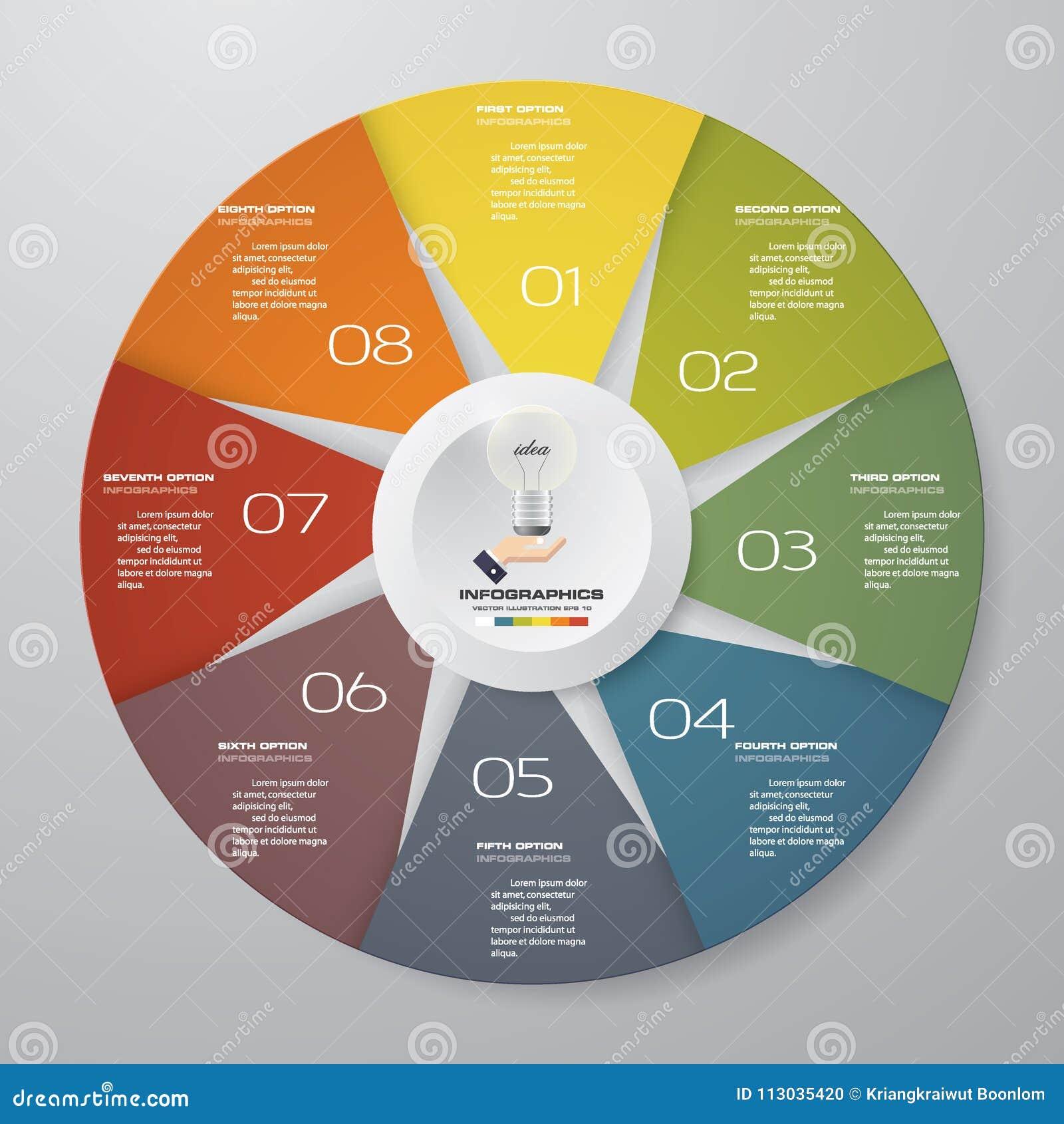 Resuma 8 elementos modernos del infographics del gráfico de sectores de los pasos