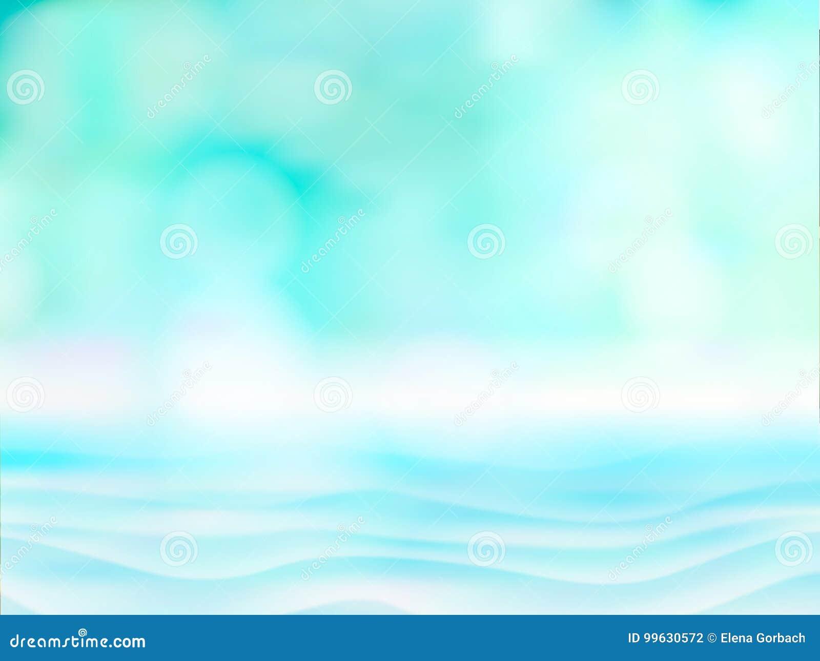 Resuma la luz borrosa en el fondo del agua azul, del mar o del océano para la estación de verano Vector azul defocused vacío del