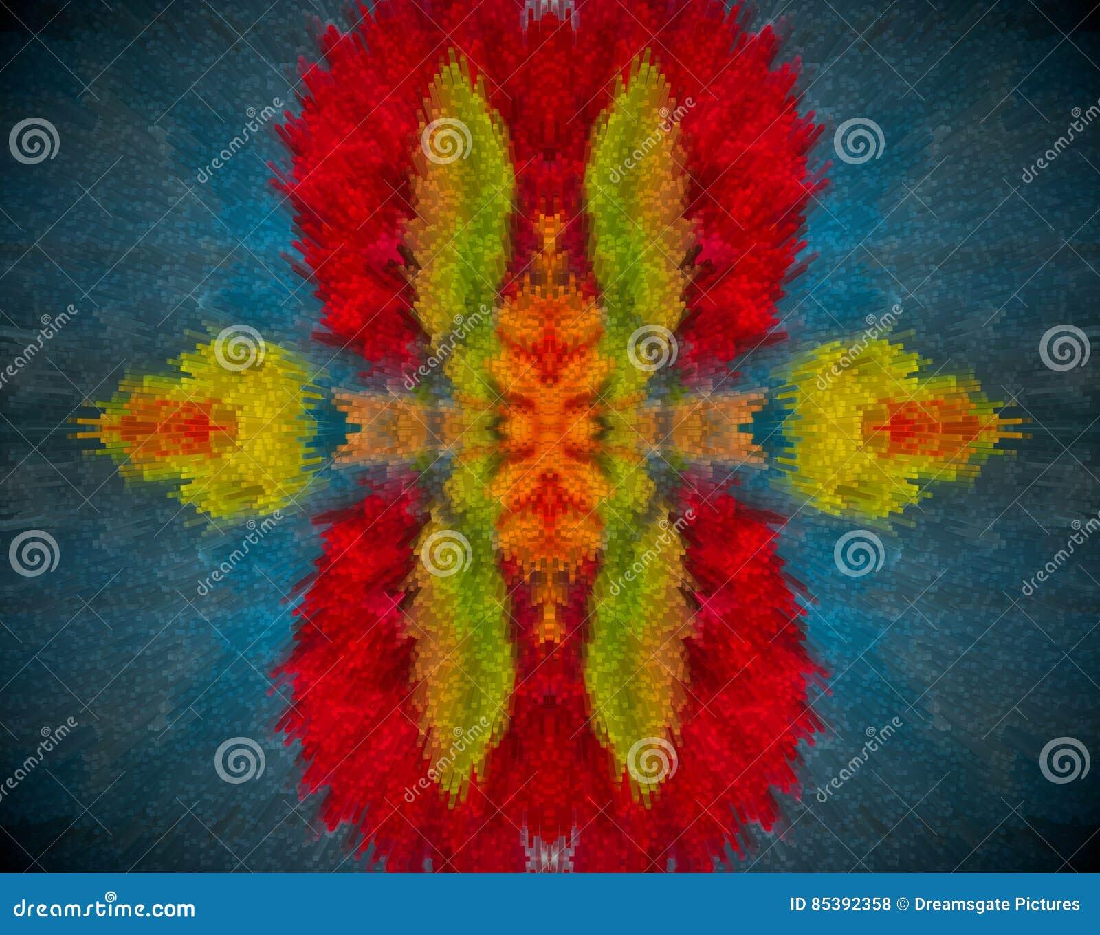 Resuma la mandala sacada con color rojo, anaranjado, azul y verde