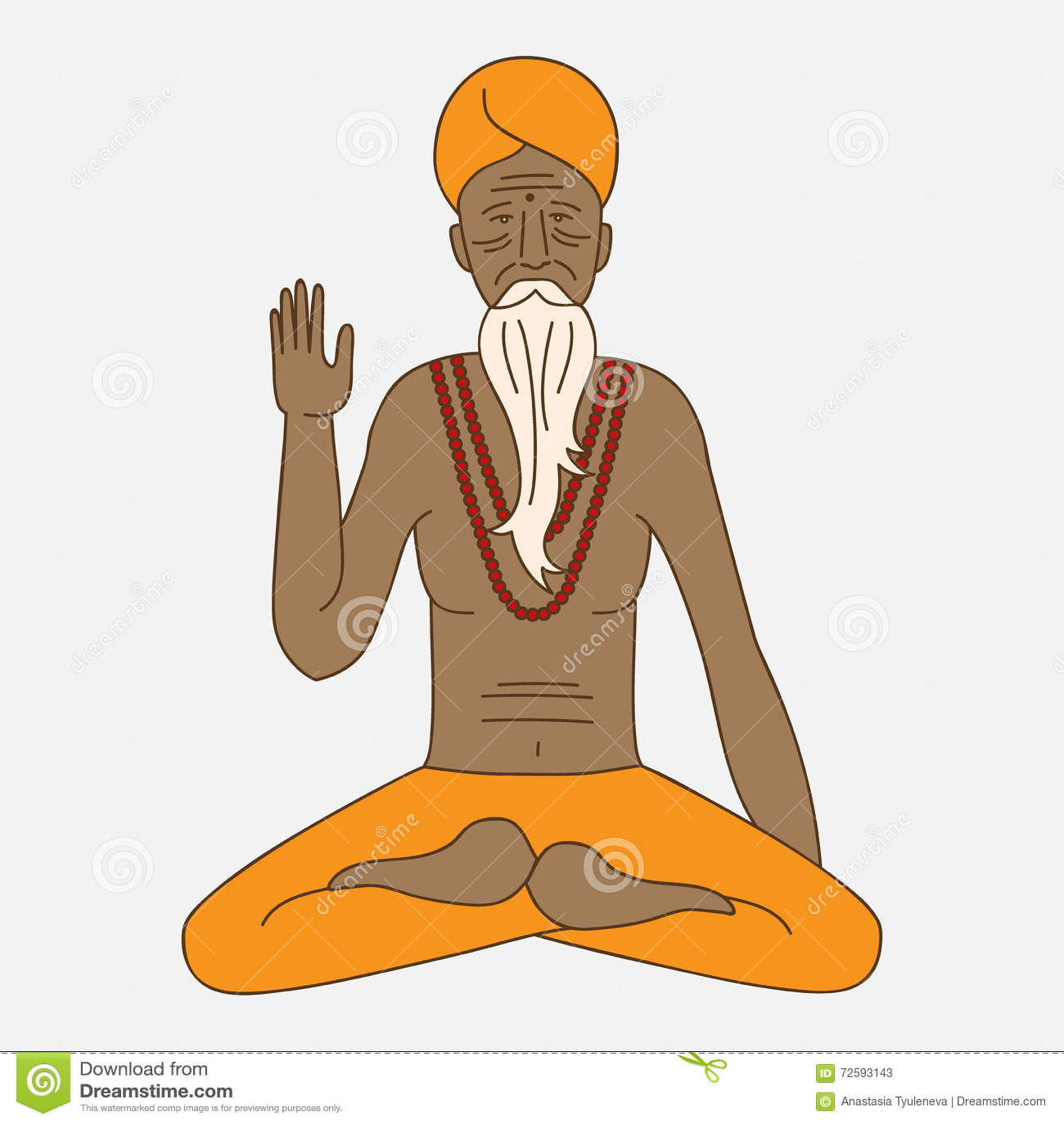 Resuma la yoga que medita el sadhu, monje del hinduism de Asia del logotipo, carácter del hombre religioso de la India