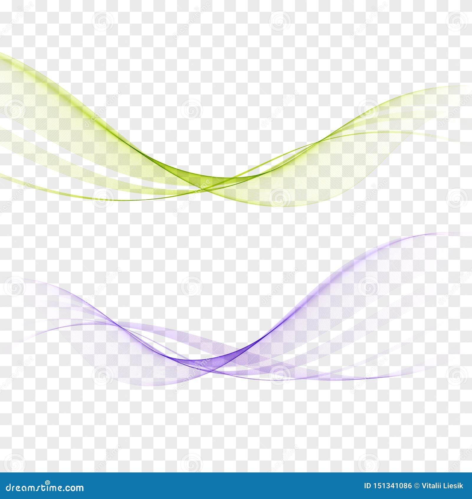 Resuma las ondas ligeras elegantes fijadas en colores azules, verdes y estilo dinámico liso en fondo transparente Vector