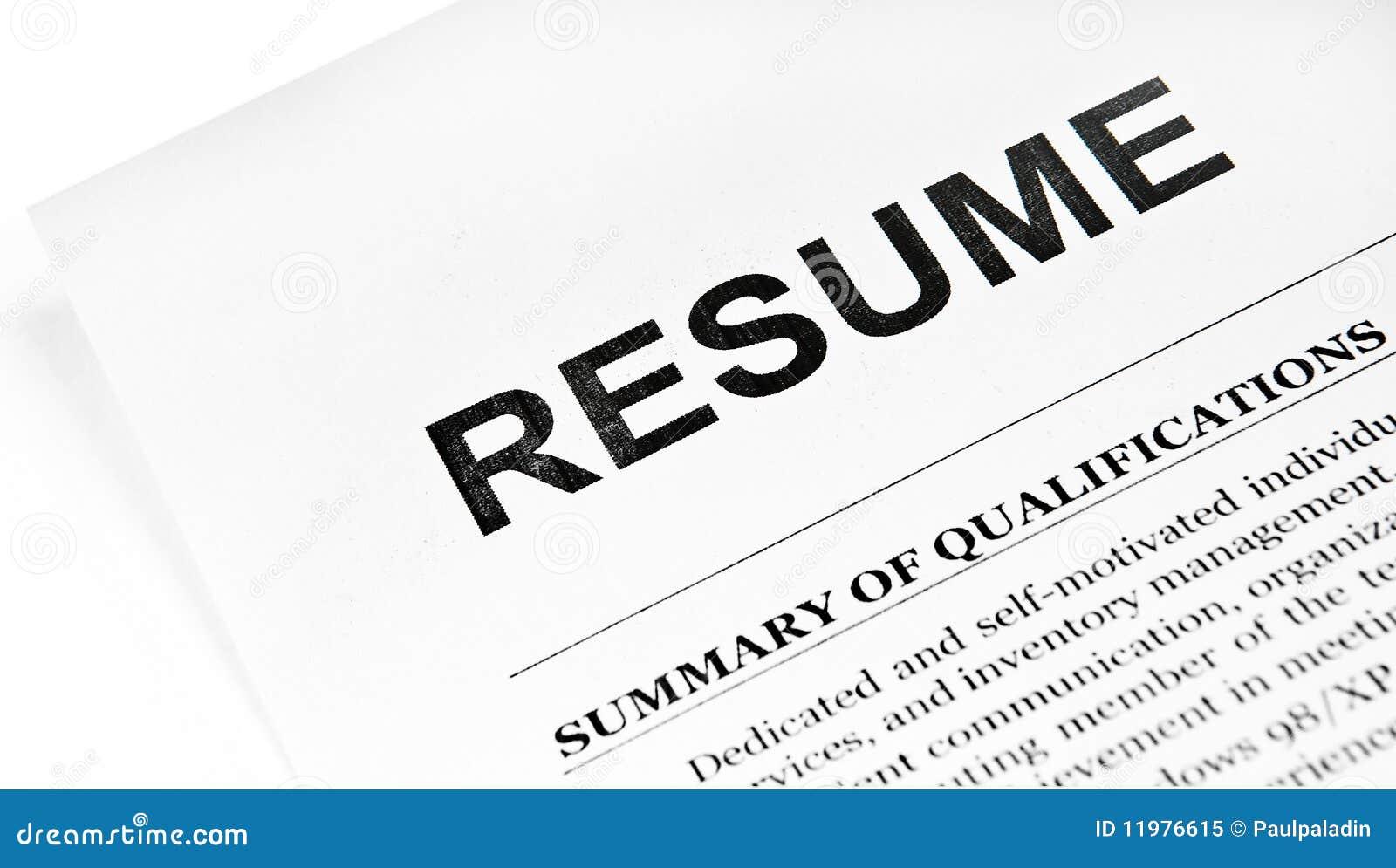 Resume Stock Image Image Of Employment Curriculum Work 11976615