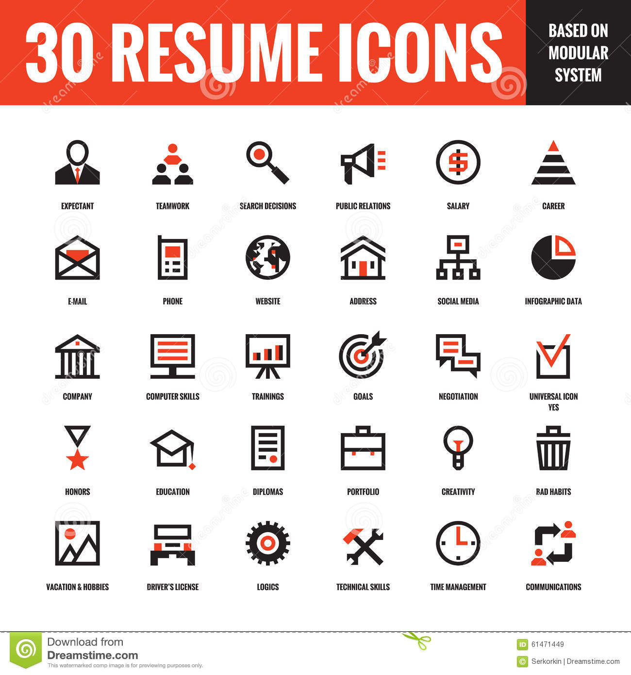 30 resume creative vector icons based on modular system  set of 30 business concept vector icons