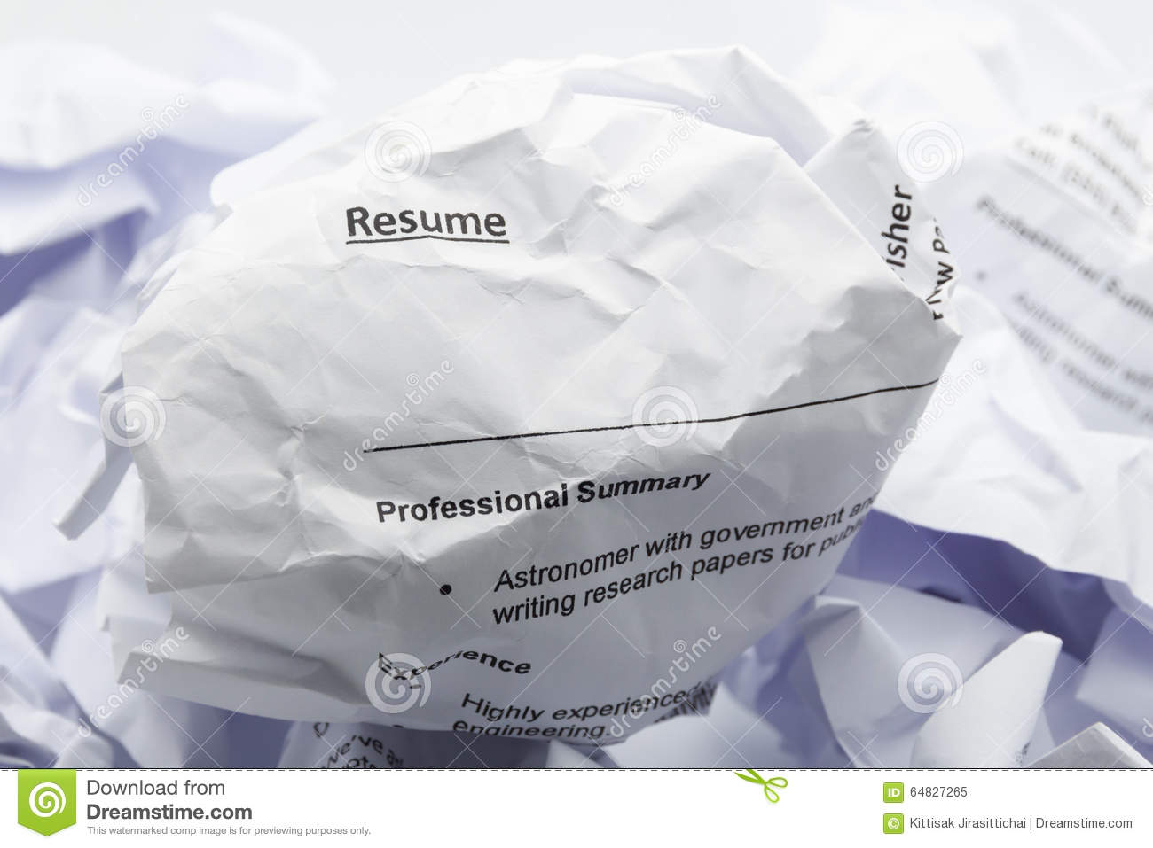 resume crumpled up and thrown away in the trash stock