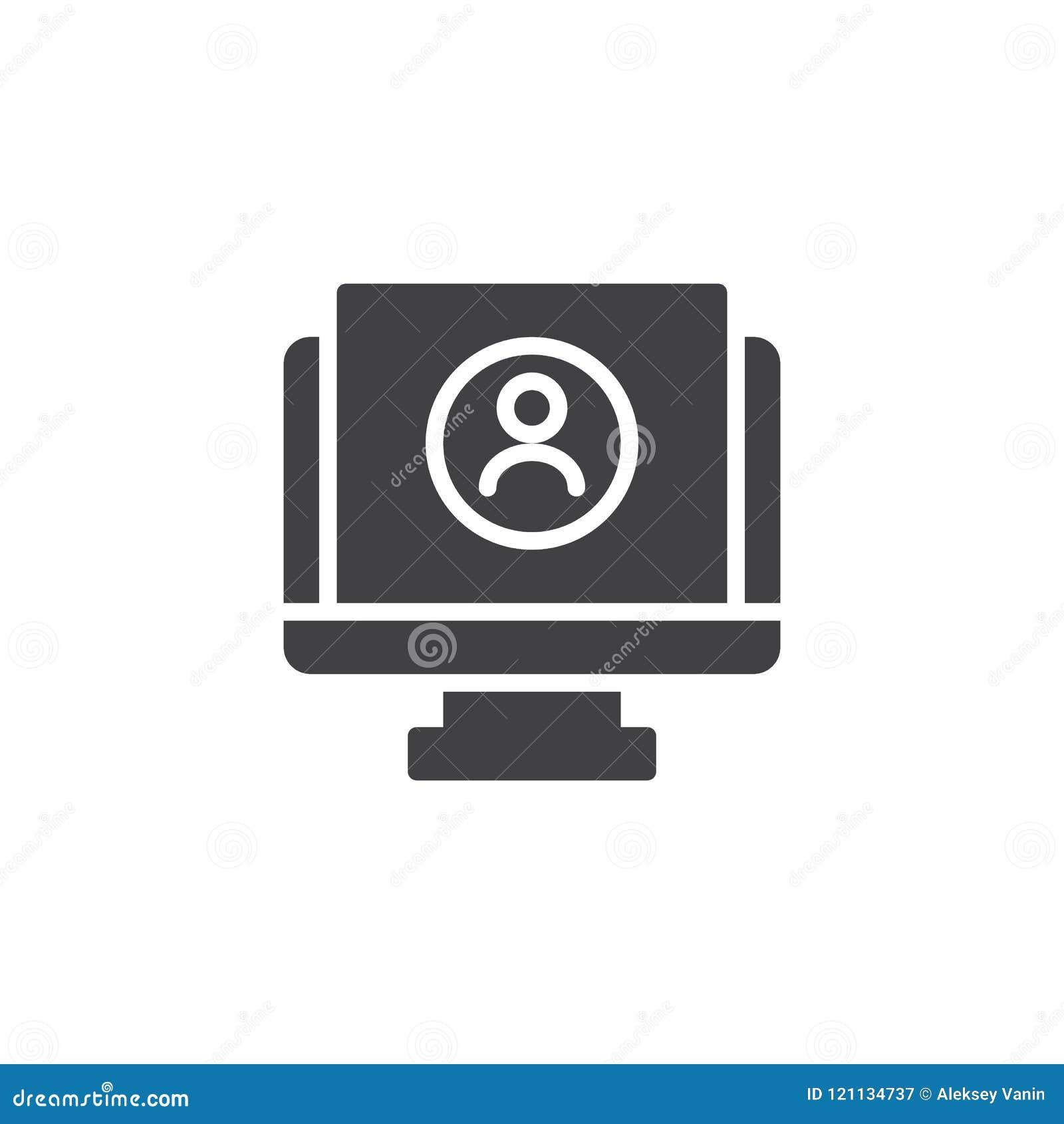 Resume CV Monitor Vector Icon Stock Vector - Illustration of office ...