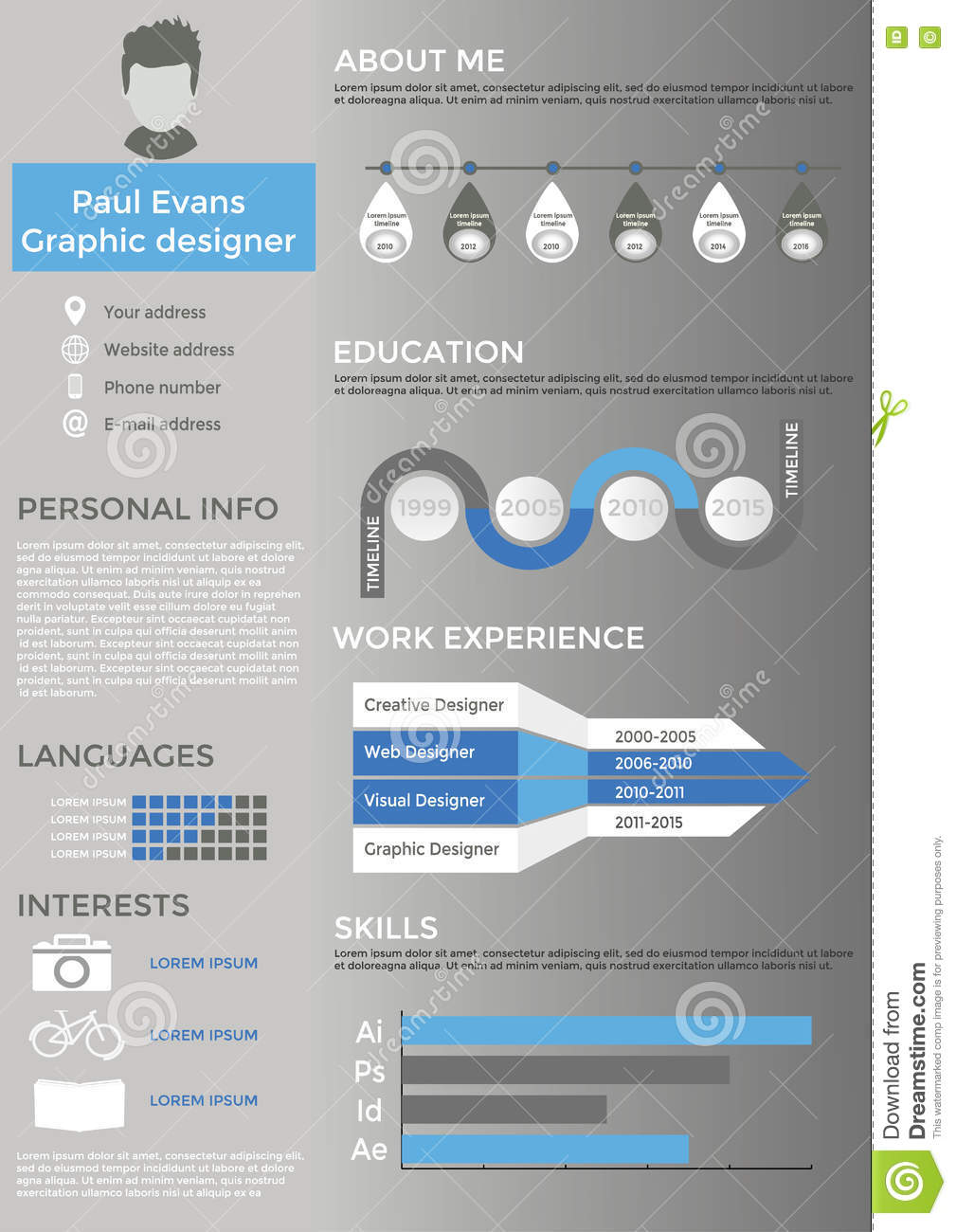 resume cv set with infographics and timeline stock vector