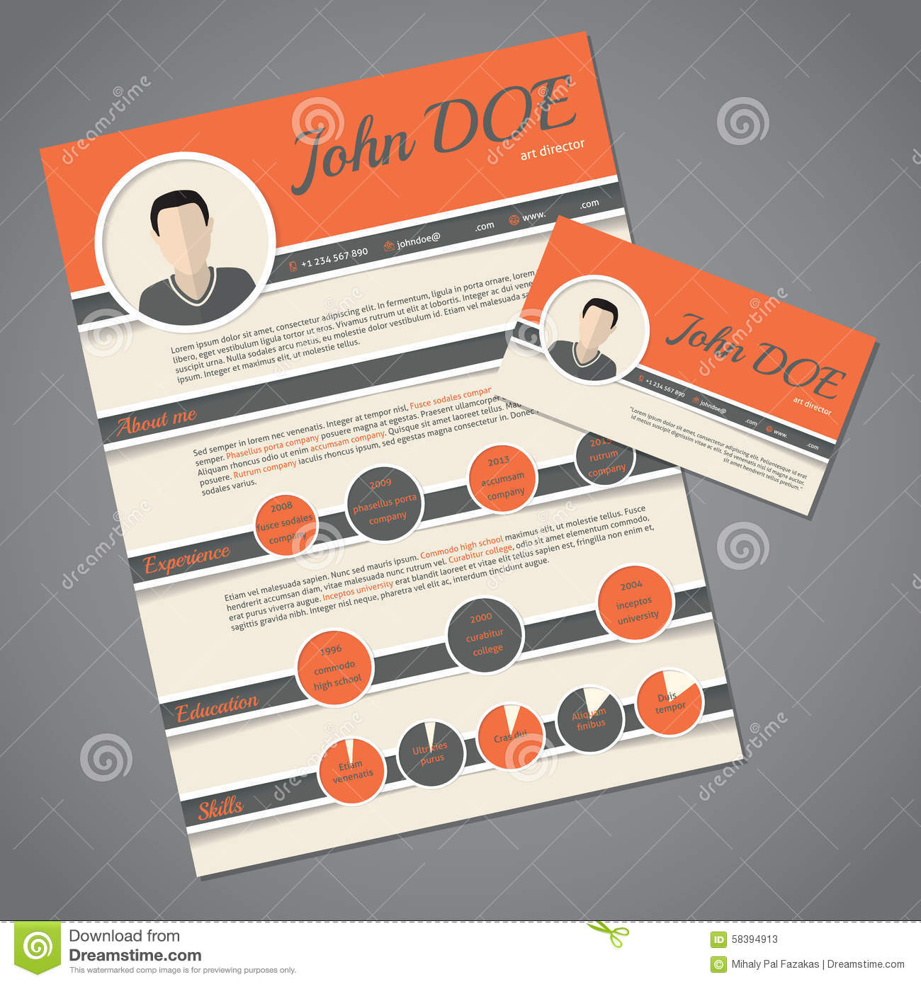 resume cv template with business card stock vector illustration of